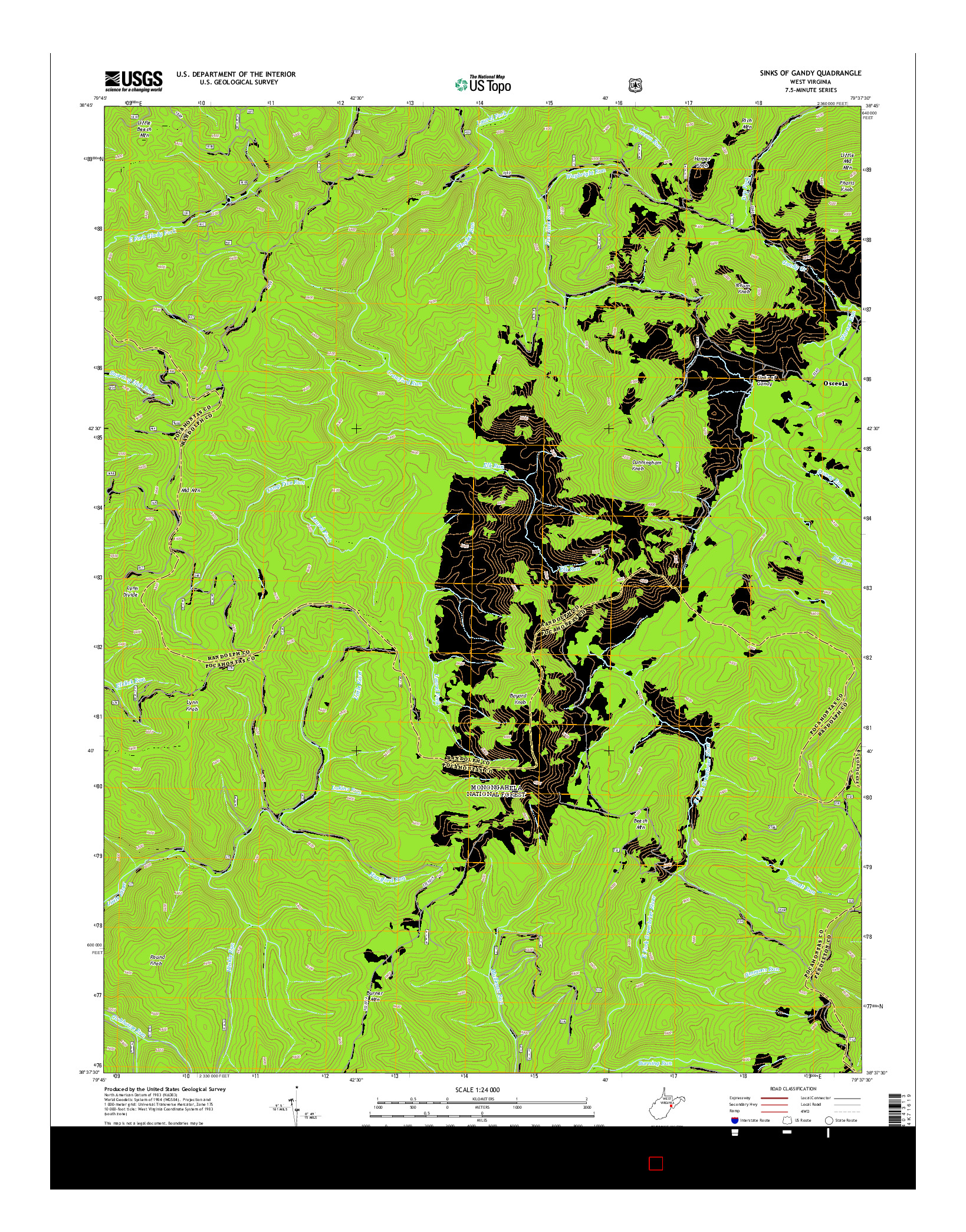 USGS US TOPO 7.5-MINUTE MAP FOR SINKS OF GANDY, WV 2014