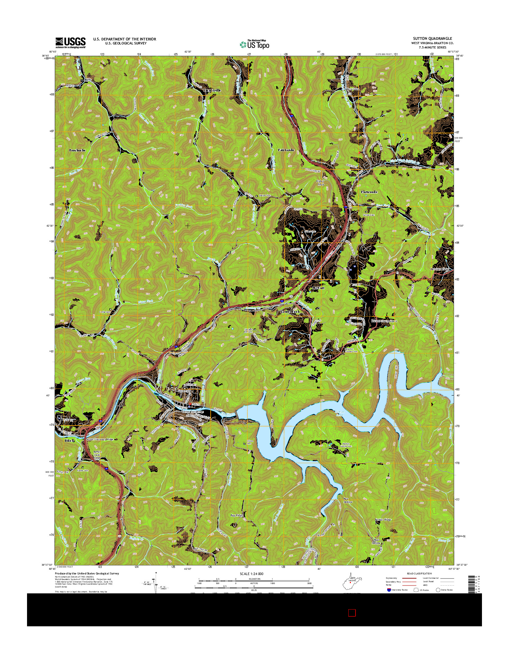 USGS US TOPO 7.5-MINUTE MAP FOR SUTTON, WV 2014