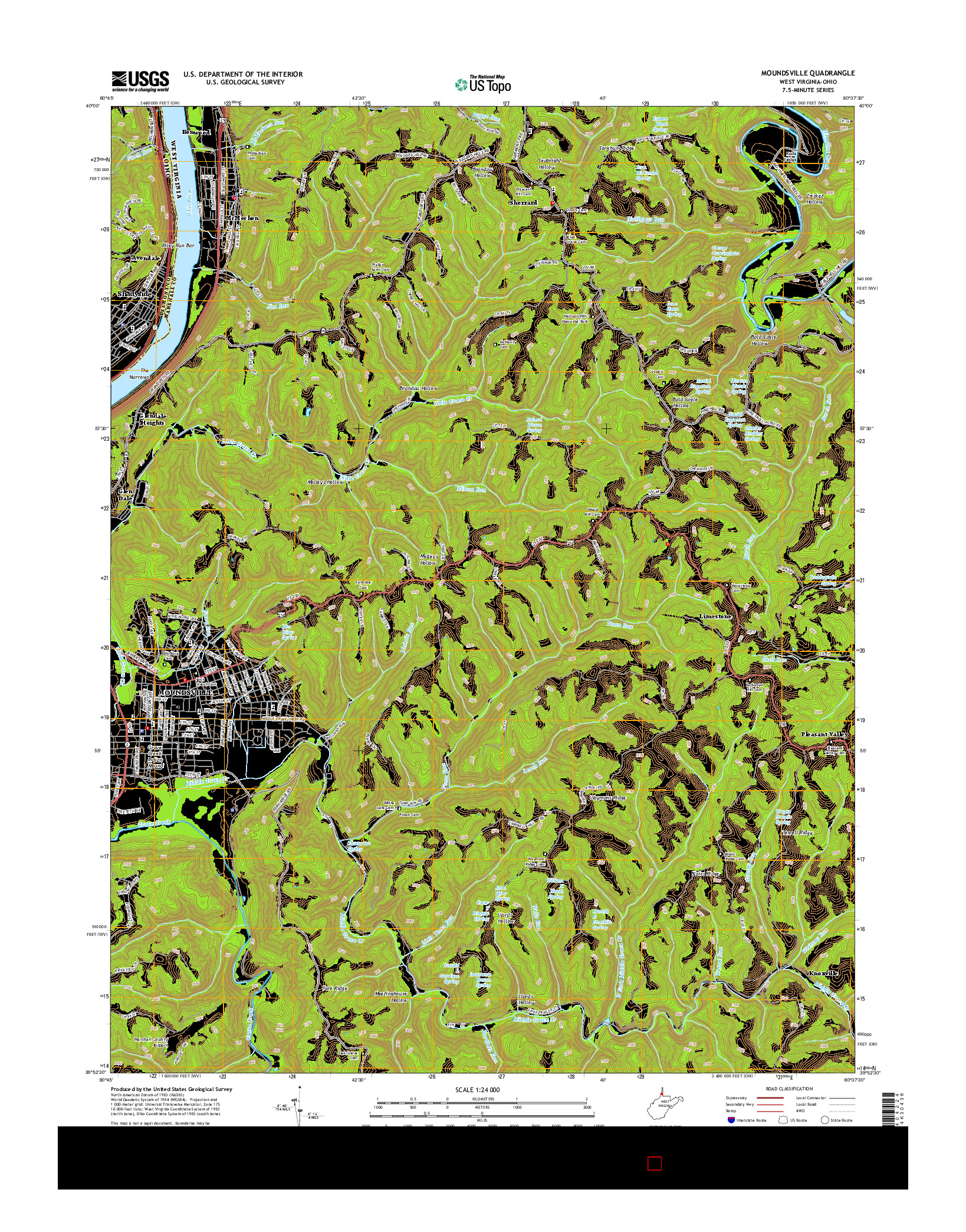 USGS US TOPO 7.5-MINUTE MAP FOR MOUNDSVILLE, WV-OH 2014