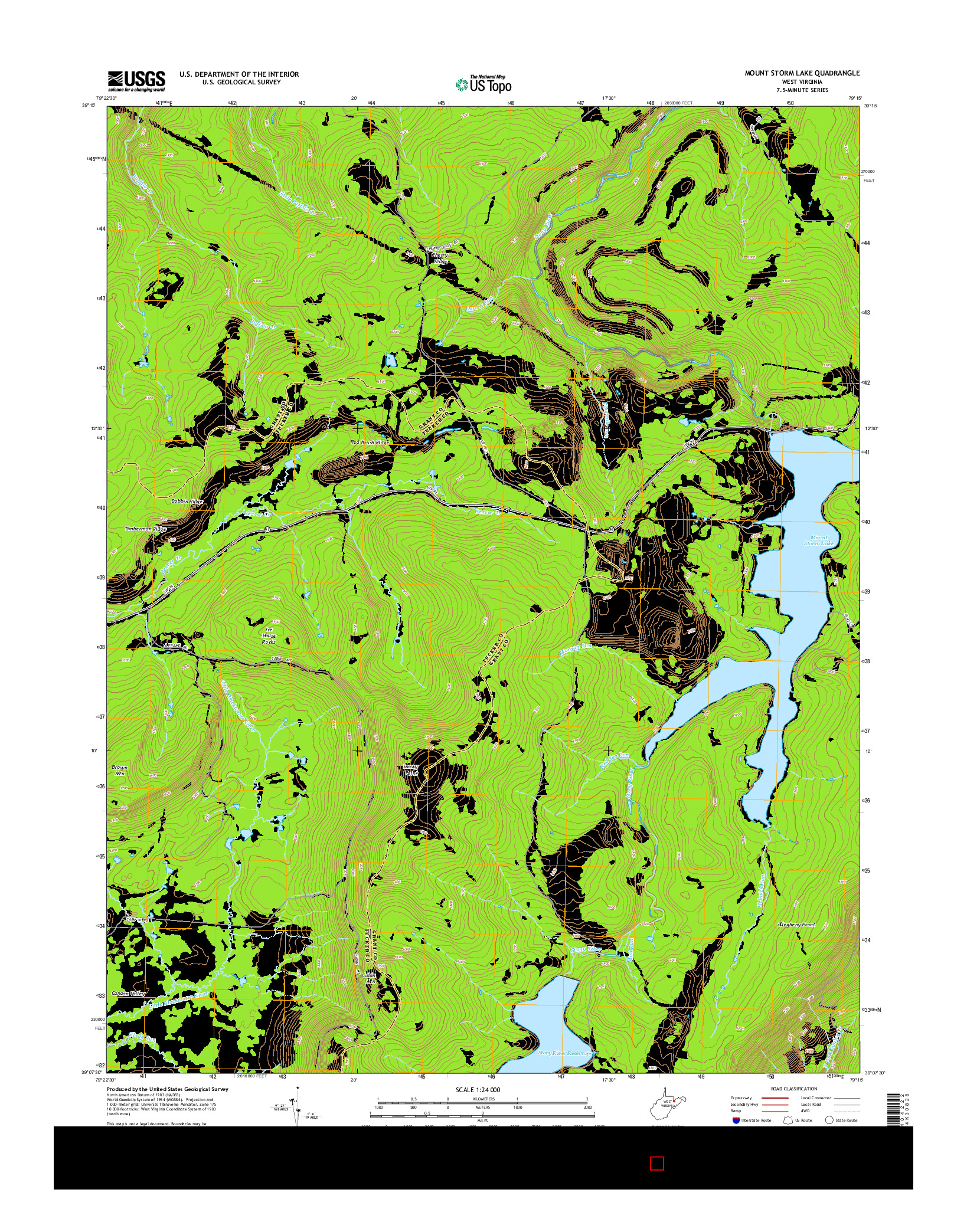 USGS US TOPO 7.5-MINUTE MAP FOR MOUNT STORM LAKE, WV 2014
