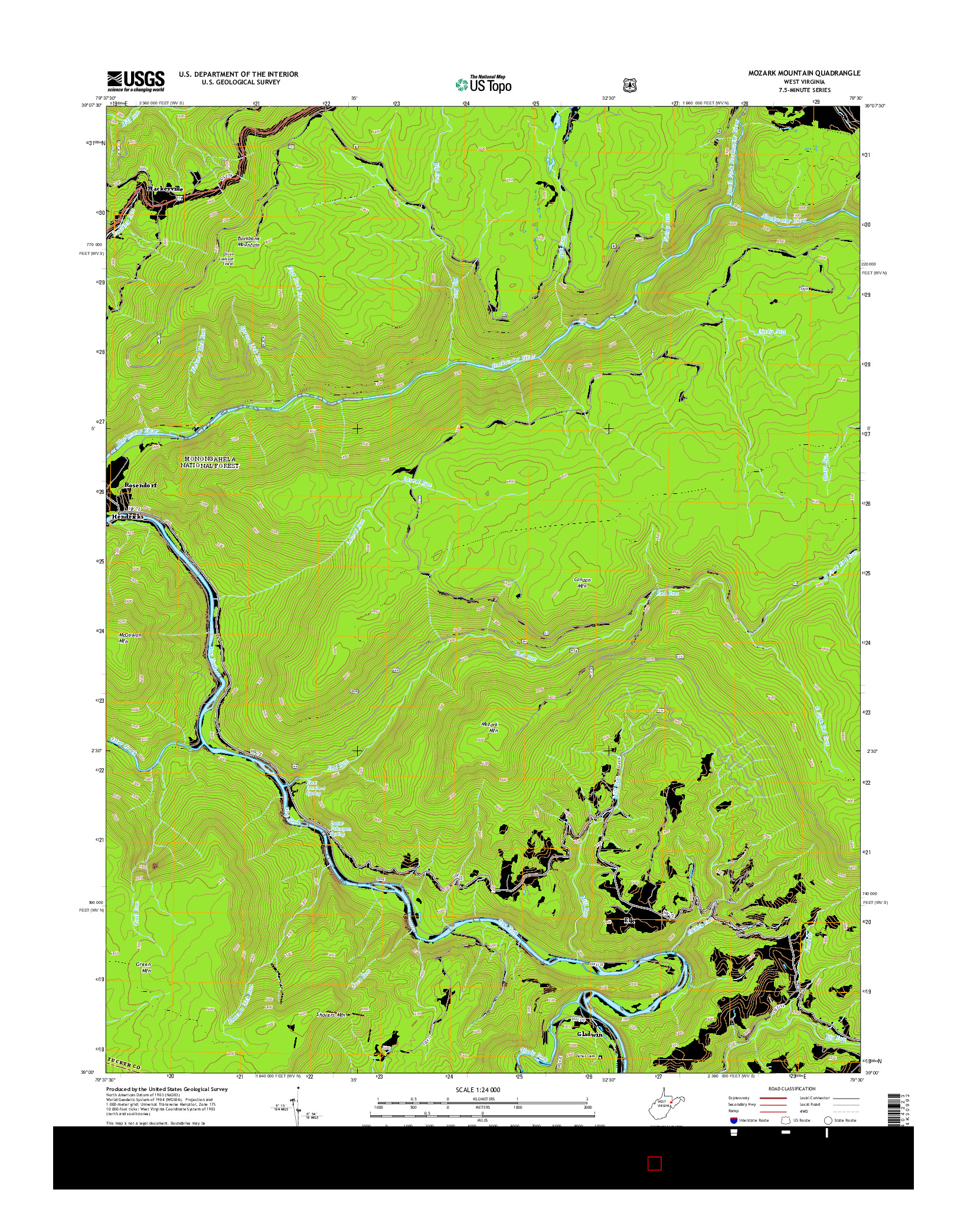 USGS US TOPO 7.5-MINUTE MAP FOR MOZARK MOUNTAIN, WV 2014