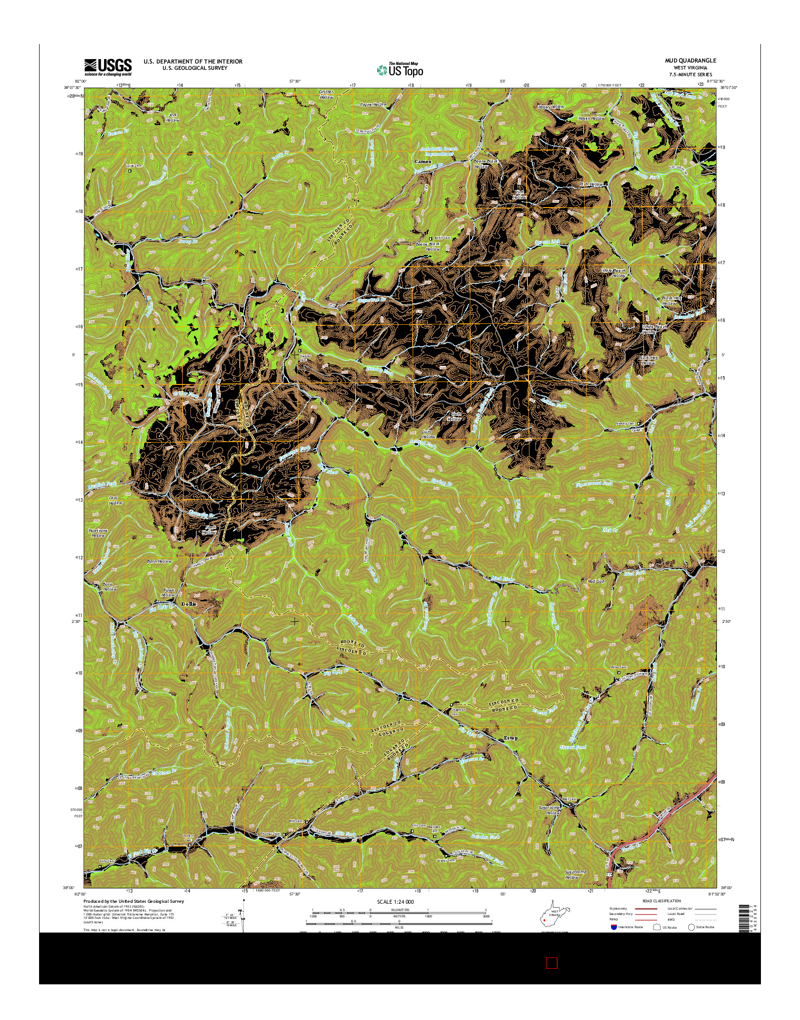 USGS US TOPO 7.5-MINUTE MAP FOR MUD, WV 2014