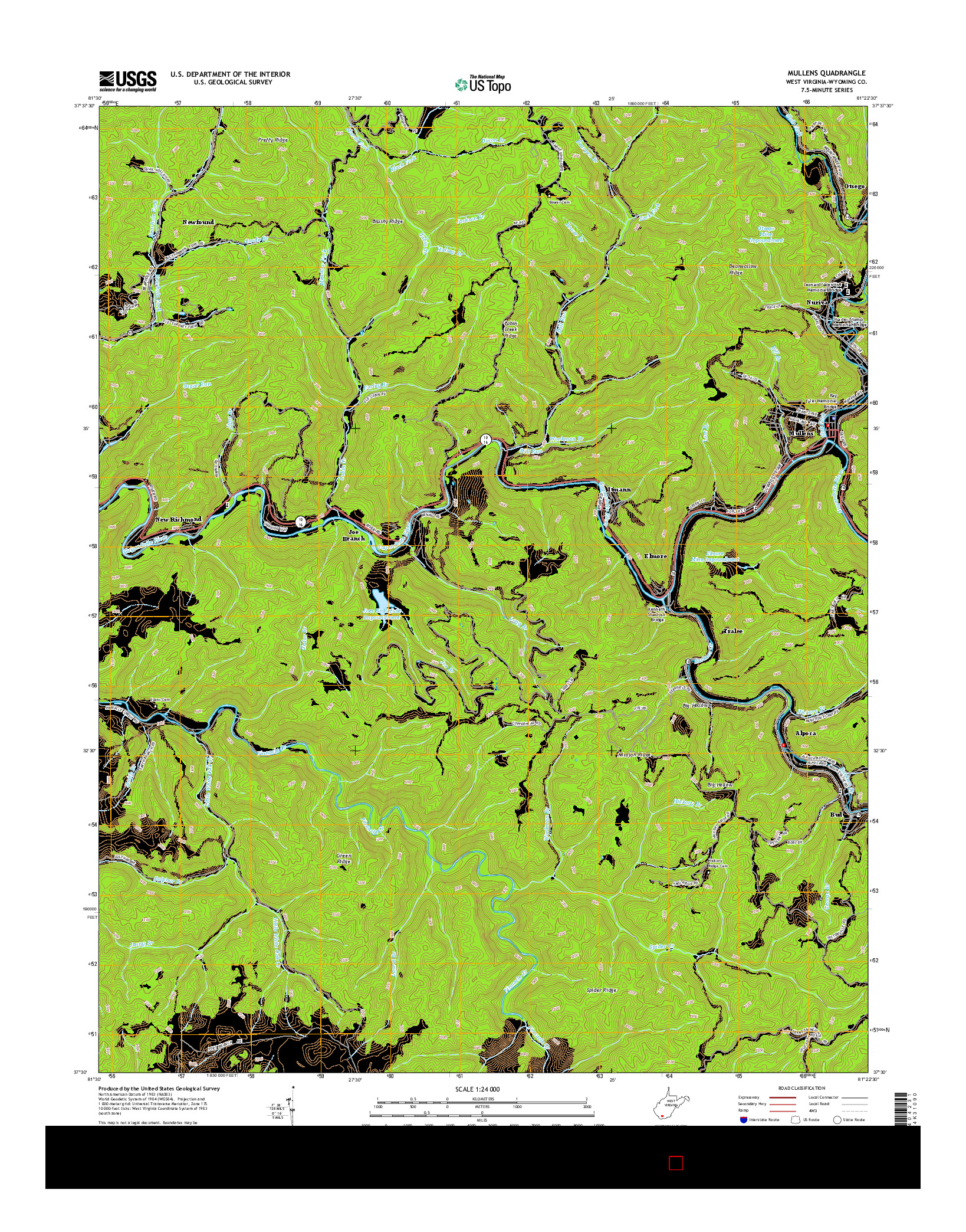 USGS US TOPO 7.5-MINUTE MAP FOR MULLENS, WV 2014