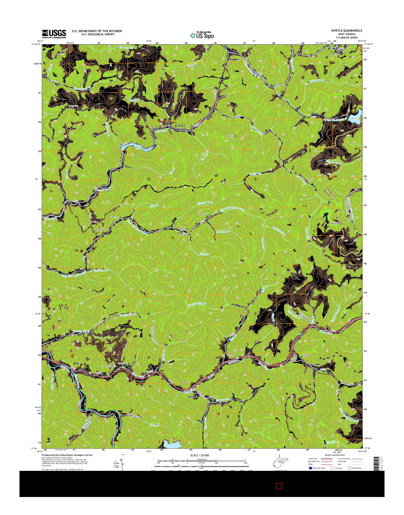USGS US TOPO 7.5-MINUTE MAP FOR MYRTLE, WV 2014