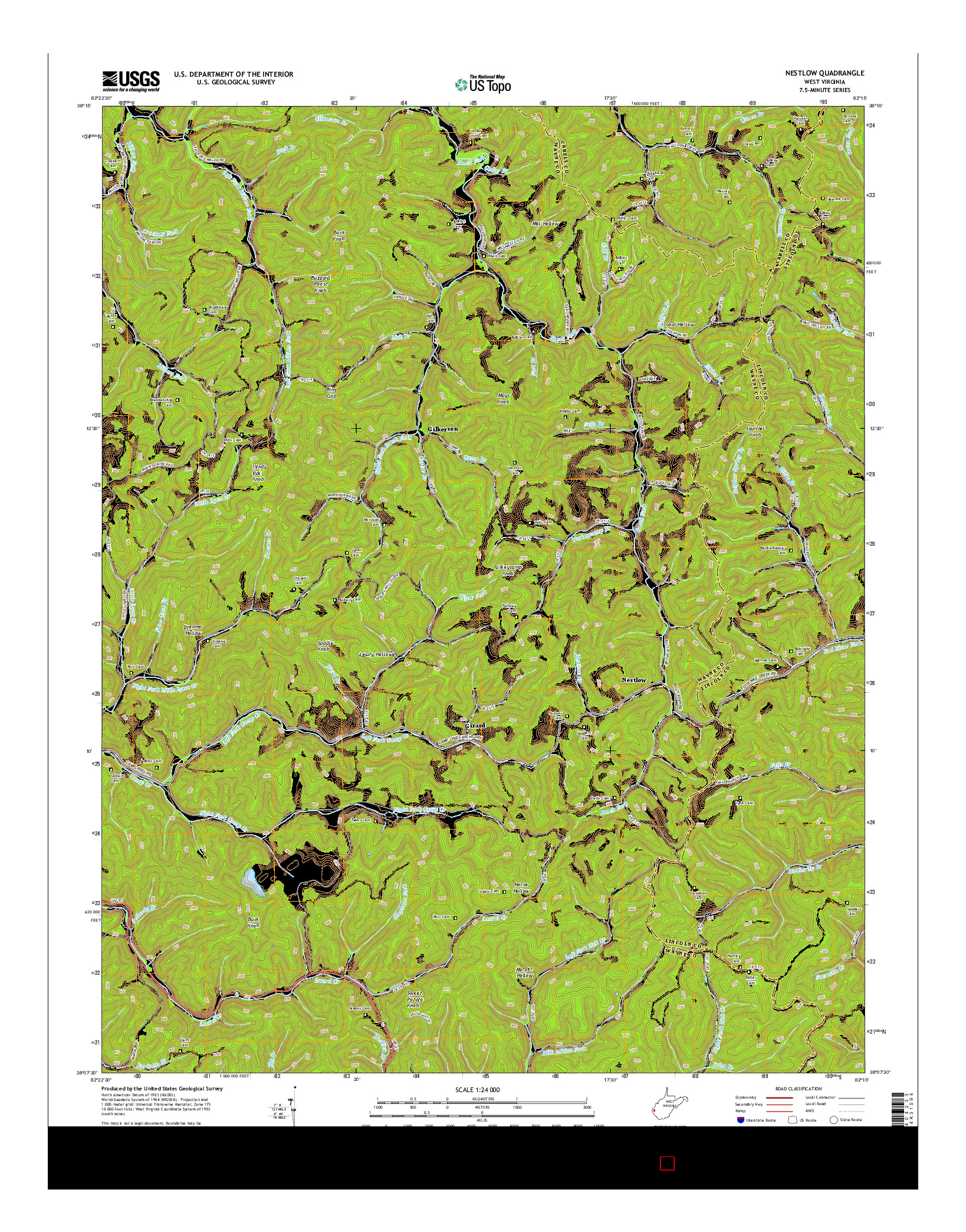 USGS US TOPO 7.5-MINUTE MAP FOR NESTLOW, WV 2014