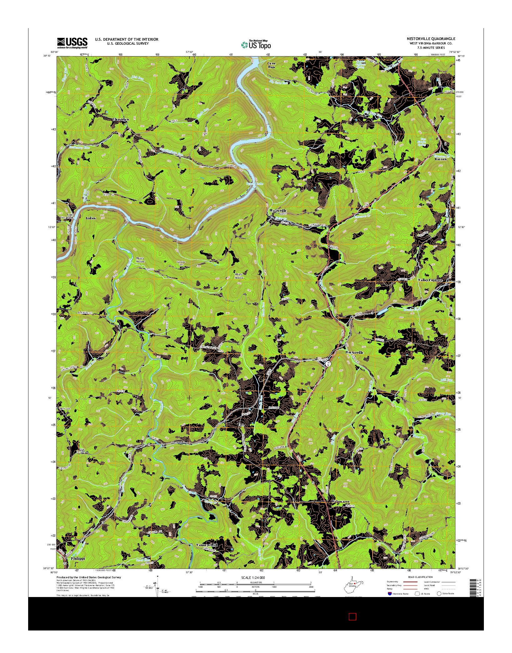 USGS US TOPO 7.5-MINUTE MAP FOR NESTORVILLE, WV 2014