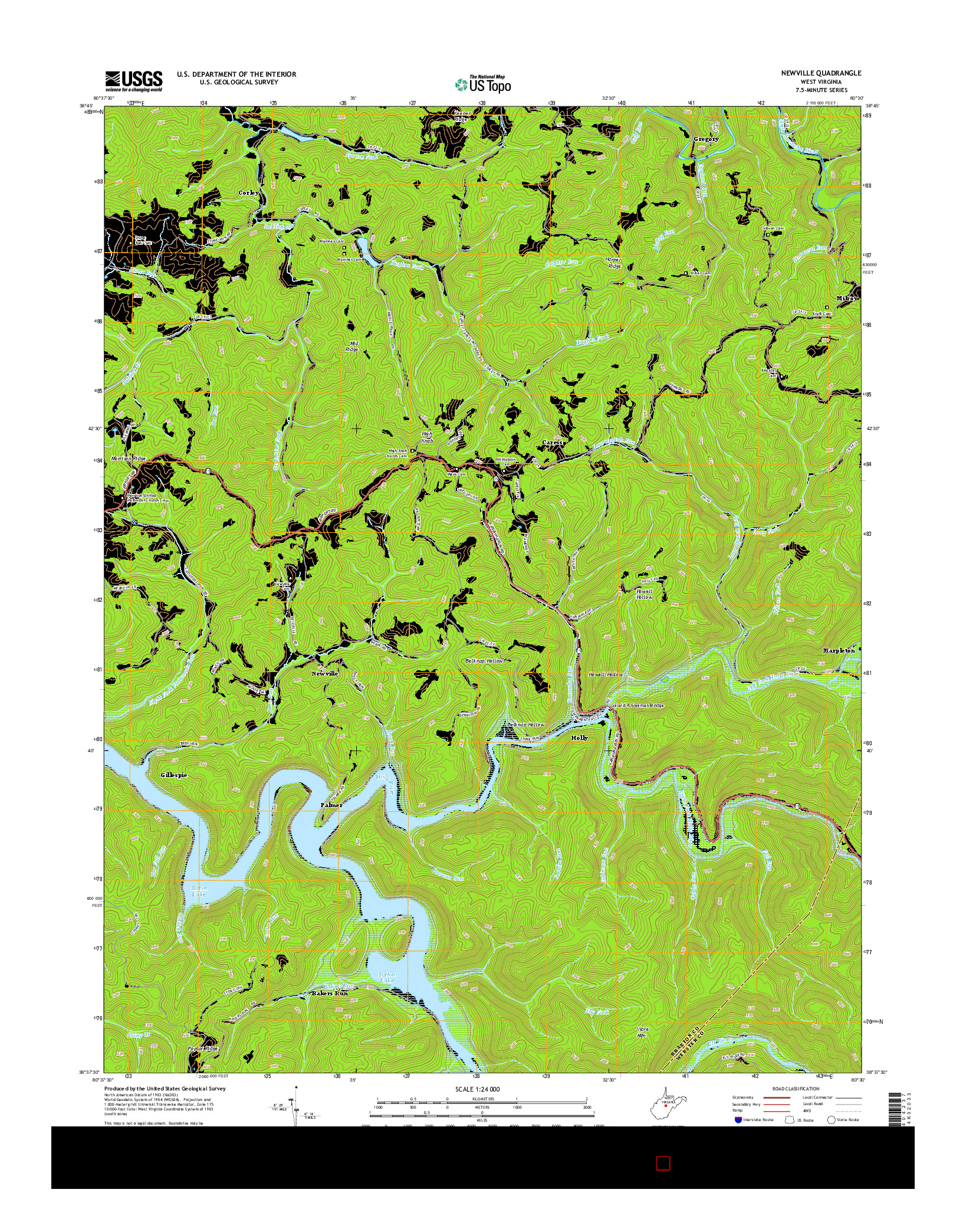 USGS US TOPO 7.5-MINUTE MAP FOR NEWVILLE, WV 2014