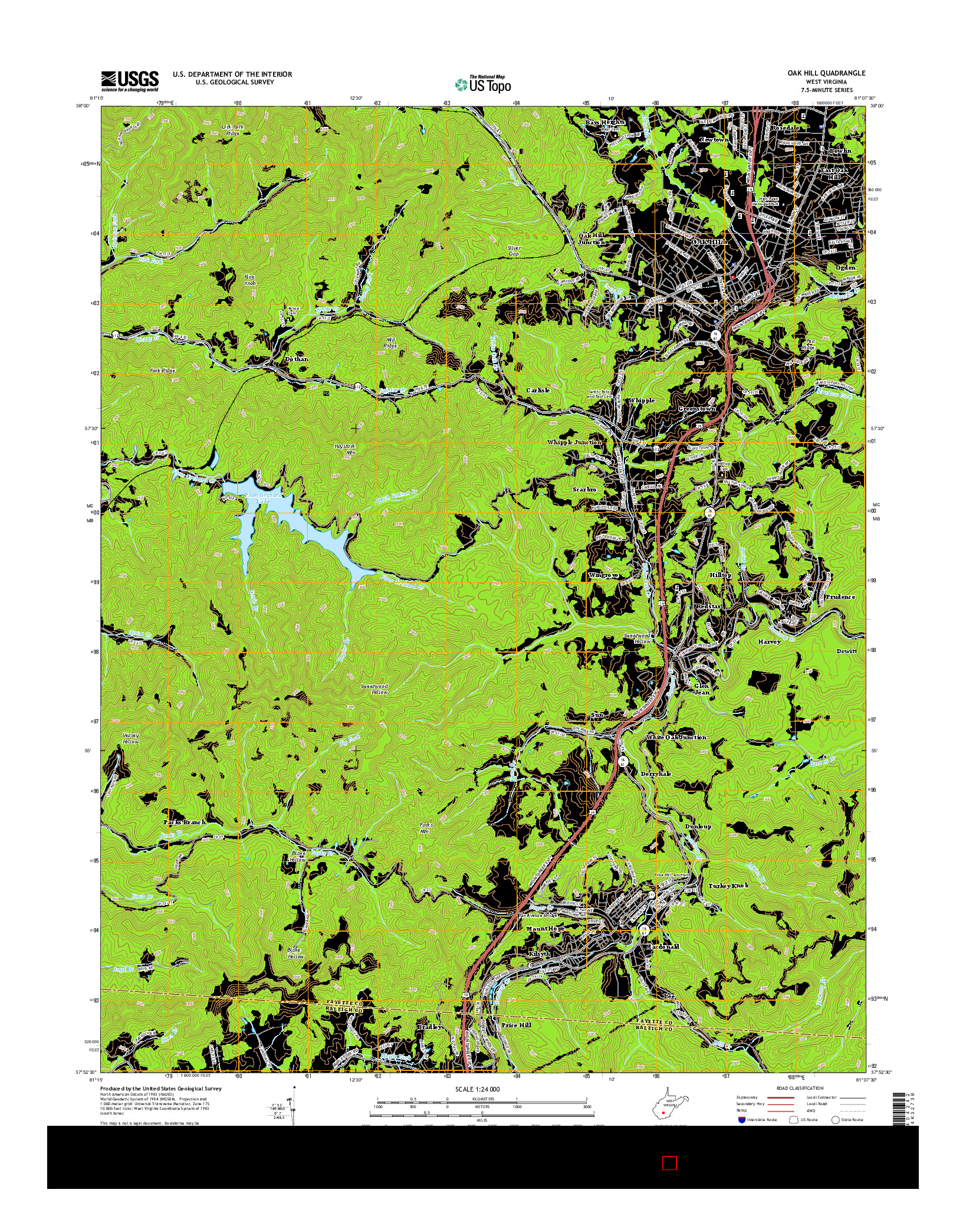 USGS US TOPO 7.5-MINUTE MAP FOR OAK HILL, WV 2014