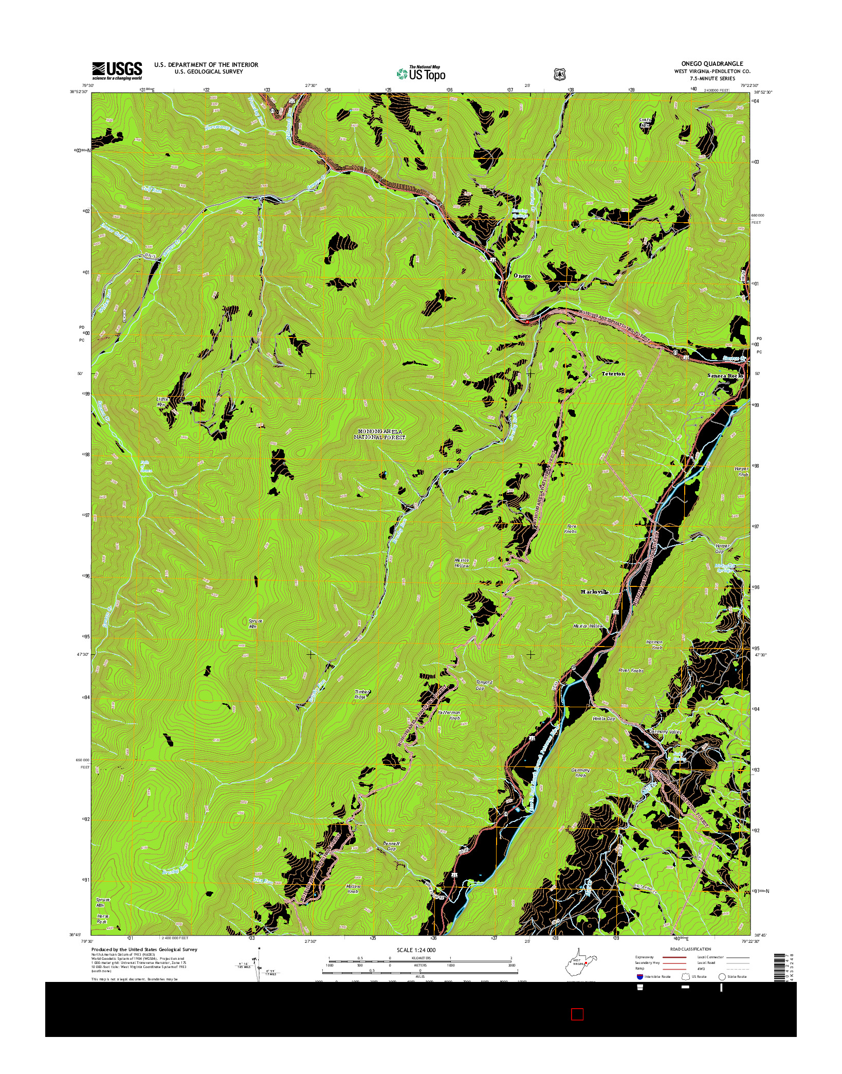 USGS US TOPO 7.5-MINUTE MAP FOR ONEGO, WV 2014