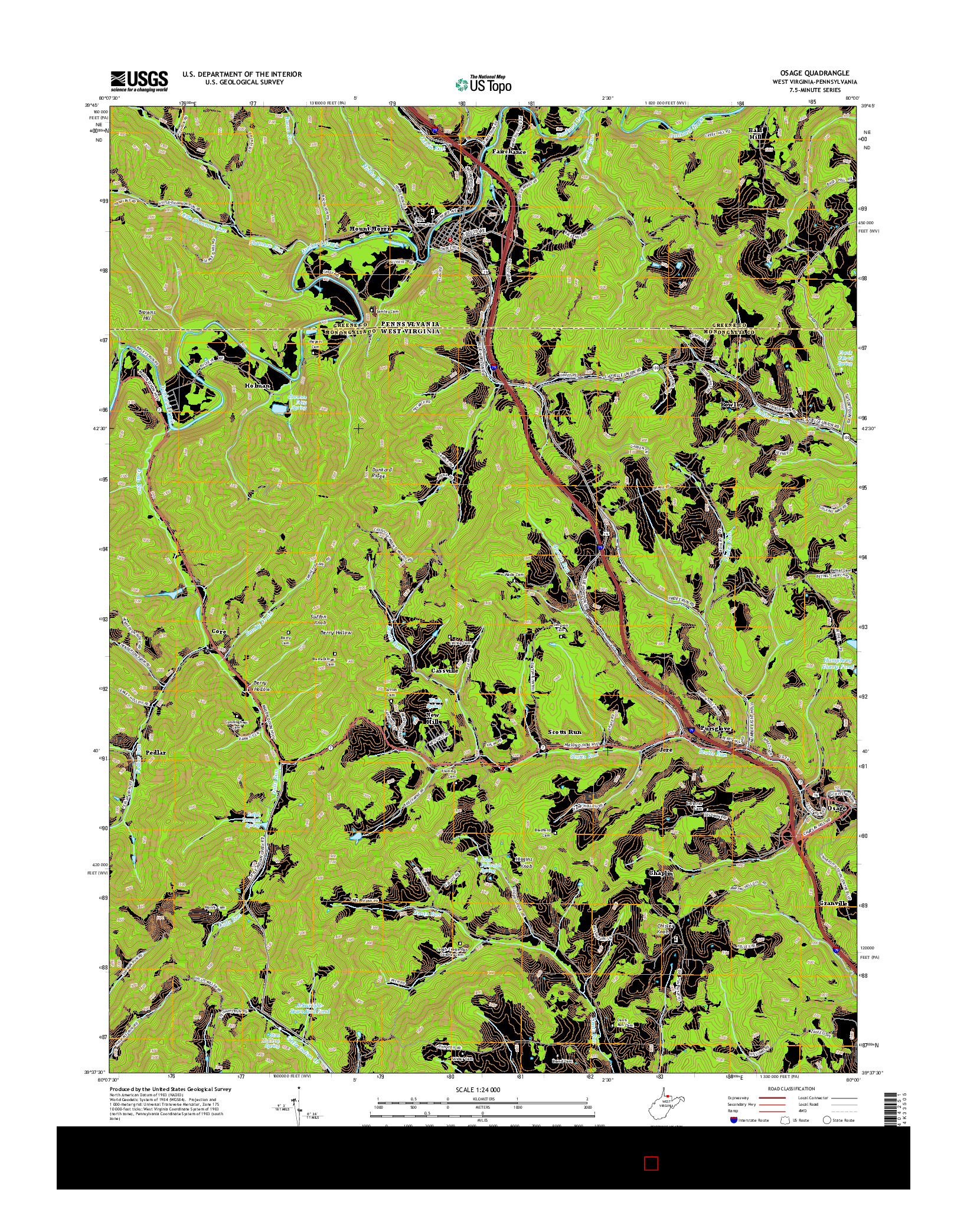 USGS US TOPO 7.5-MINUTE MAP FOR OSAGE, WV-PA 2014