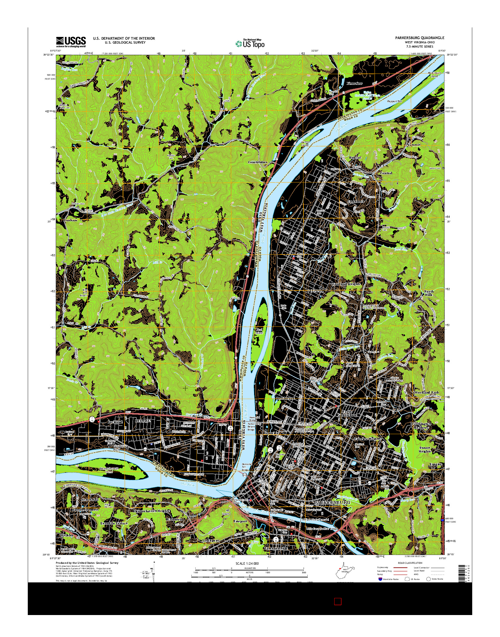 USGS US TOPO 7.5-MINUTE MAP FOR PARKERSBURG, WV-OH 2014