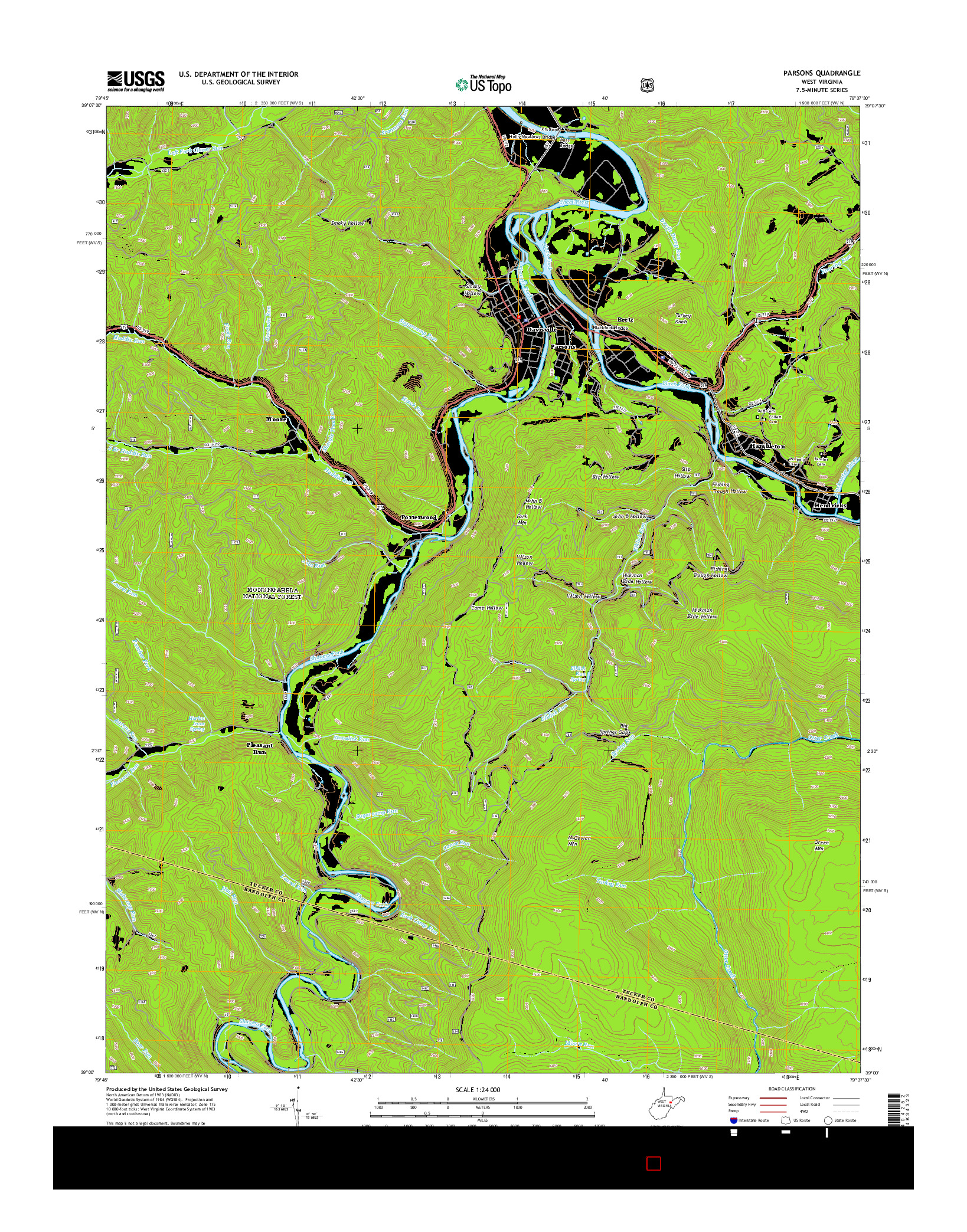 USGS US TOPO 7.5-MINUTE MAP FOR PARSONS, WV 2014