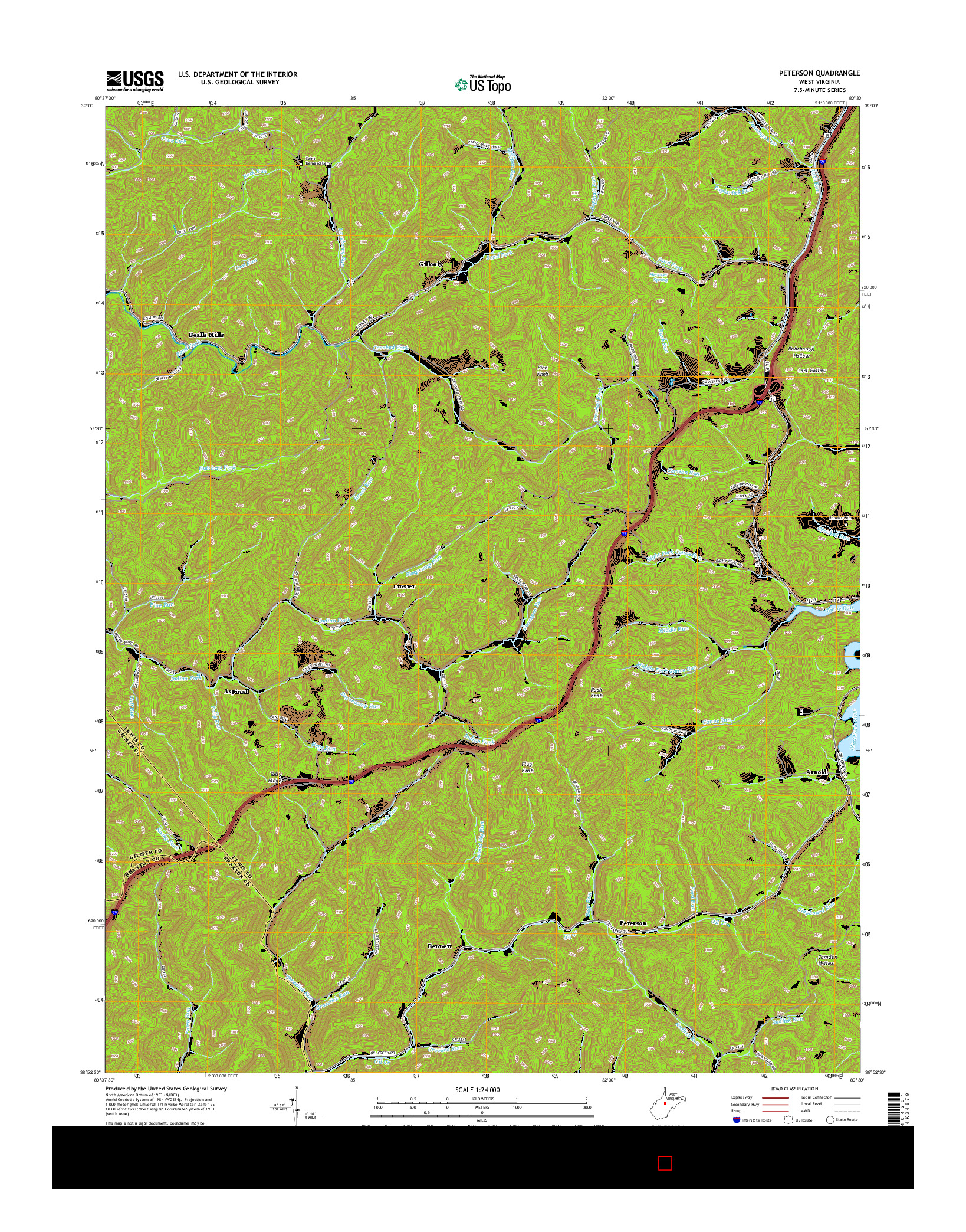 USGS US TOPO 7.5-MINUTE MAP FOR PETERSON, WV 2014