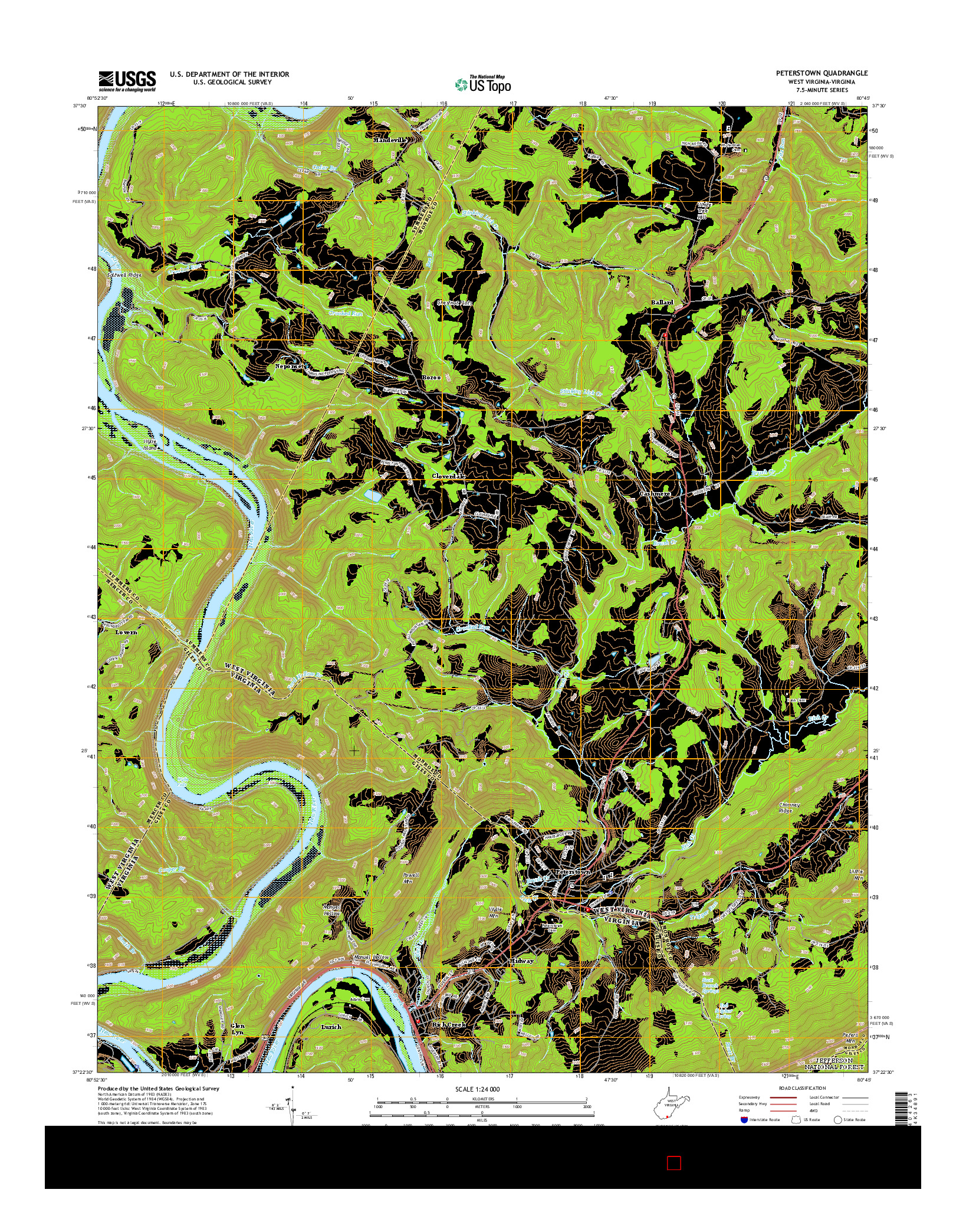 USGS US TOPO 7.5-MINUTE MAP FOR PETERSTOWN, WV-VA 2014