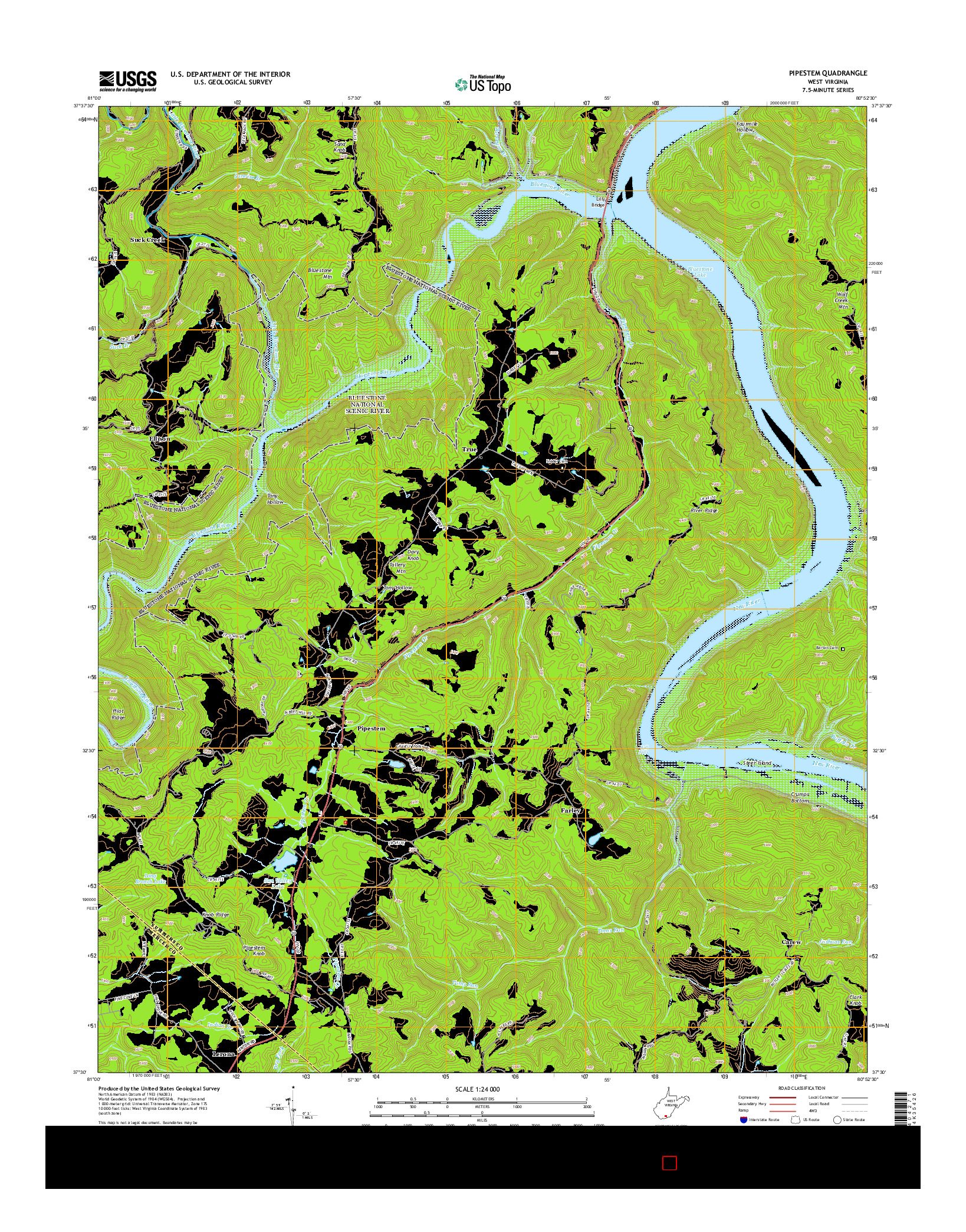 USGS US TOPO 7.5-MINUTE MAP FOR PIPESTEM, WV 2014