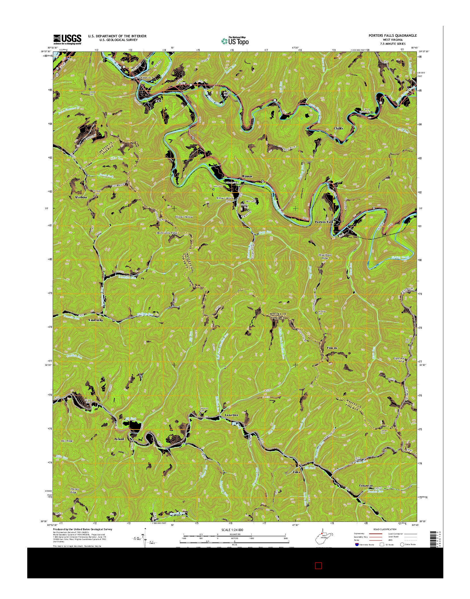 USGS US TOPO 7.5-MINUTE MAP FOR PORTERS FALLS, WV 2014