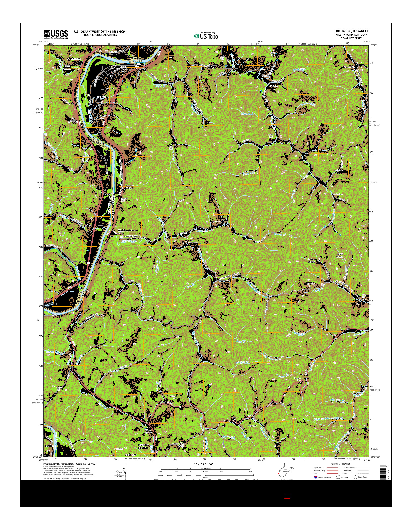 USGS US TOPO 7.5-MINUTE MAP FOR PRICHARD, WV-KY 2014