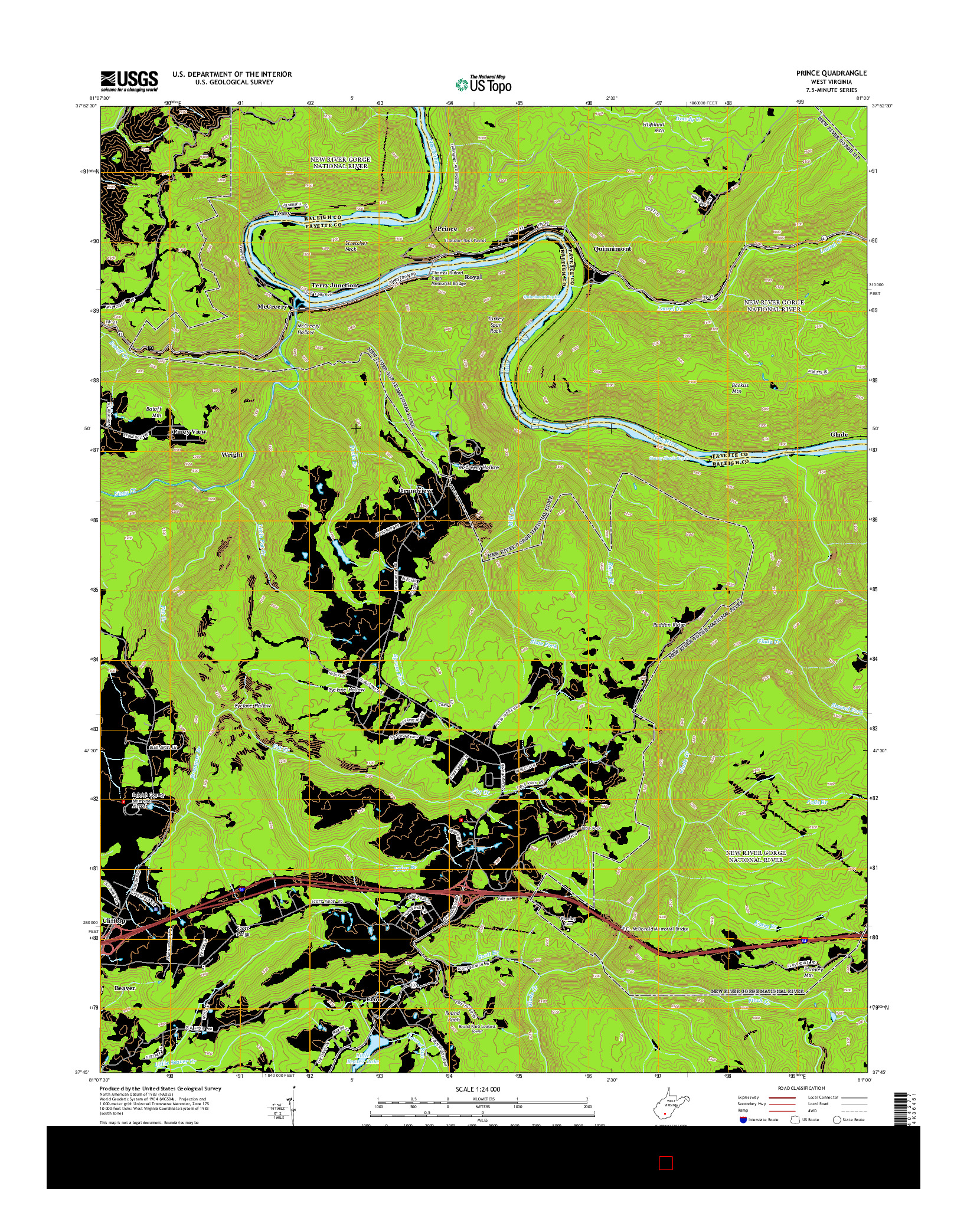 USGS US TOPO 7.5-MINUTE MAP FOR PRINCE, WV 2014
