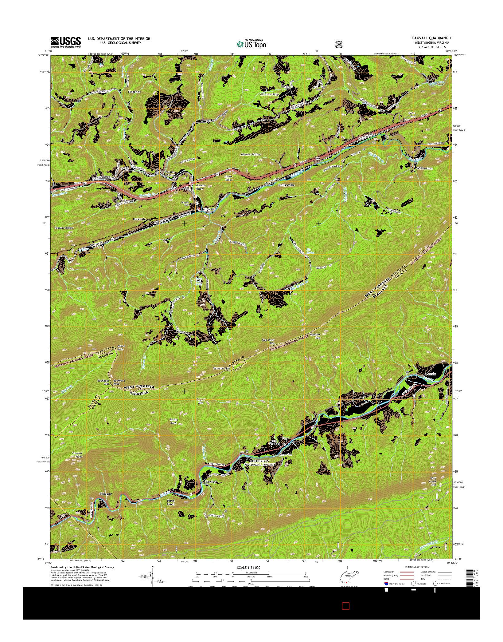 USGS US TOPO 7.5-MINUTE MAP FOR OAKVALE, WV-VA 2014