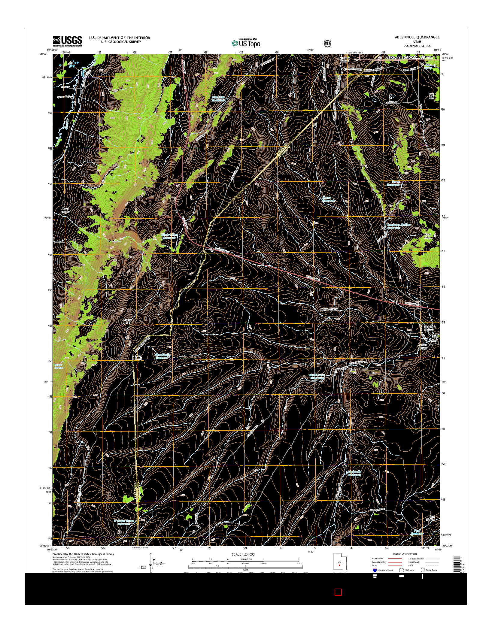 USGS US TOPO 7.5-MINUTE MAP FOR ABES KNOLL, UT 2014