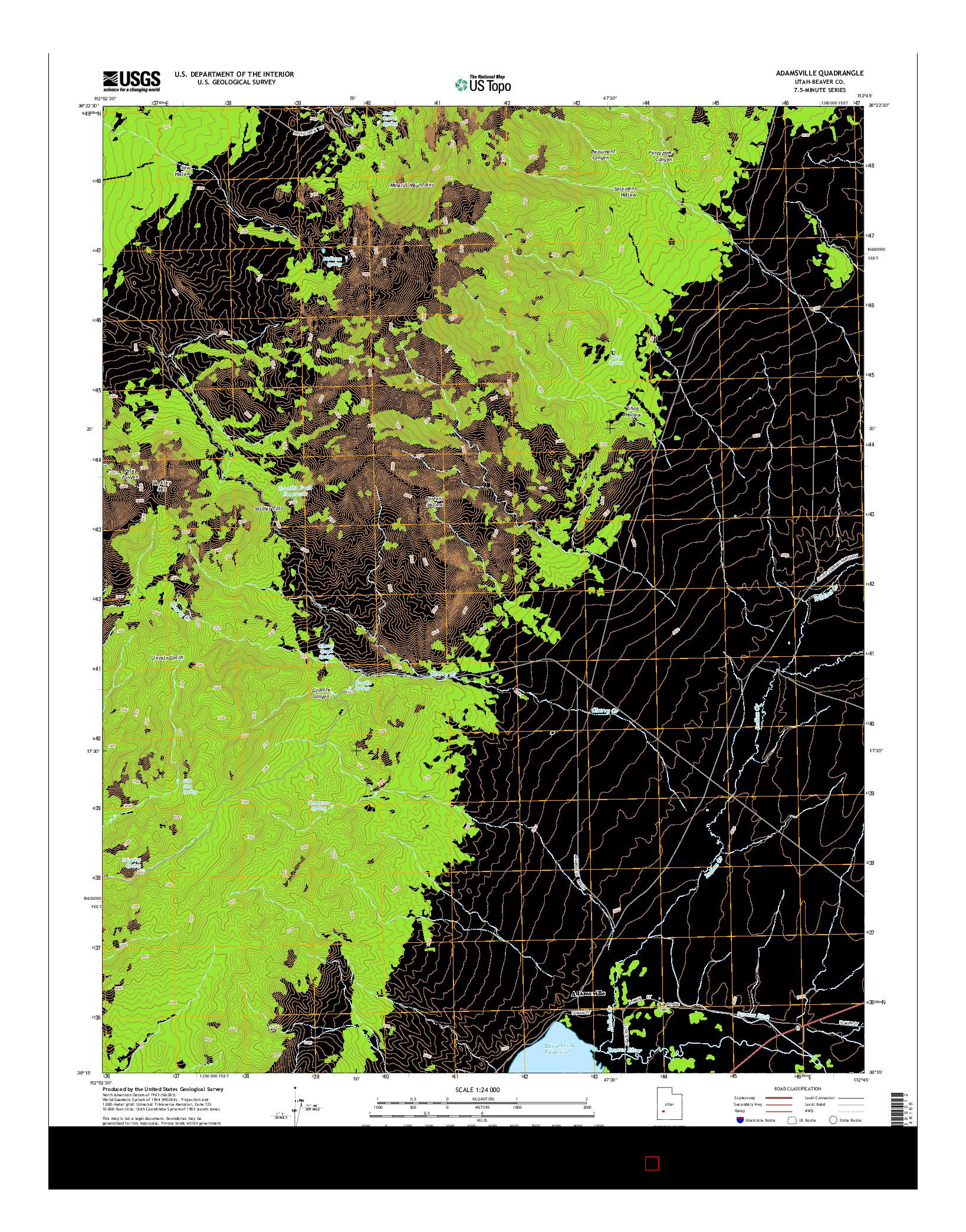 USGS US TOPO 7.5-MINUTE MAP FOR ADAMSVILLE, UT 2014