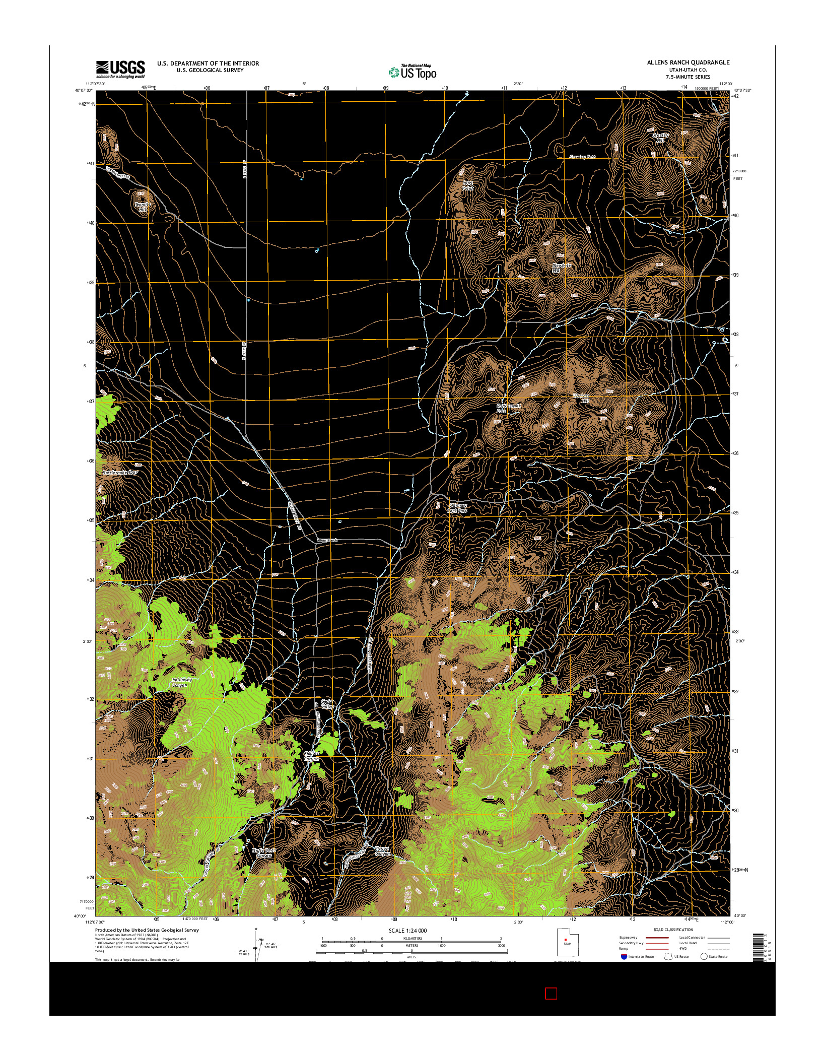 USGS US TOPO 7.5-MINUTE MAP FOR ALLENS RANCH, UT 2014