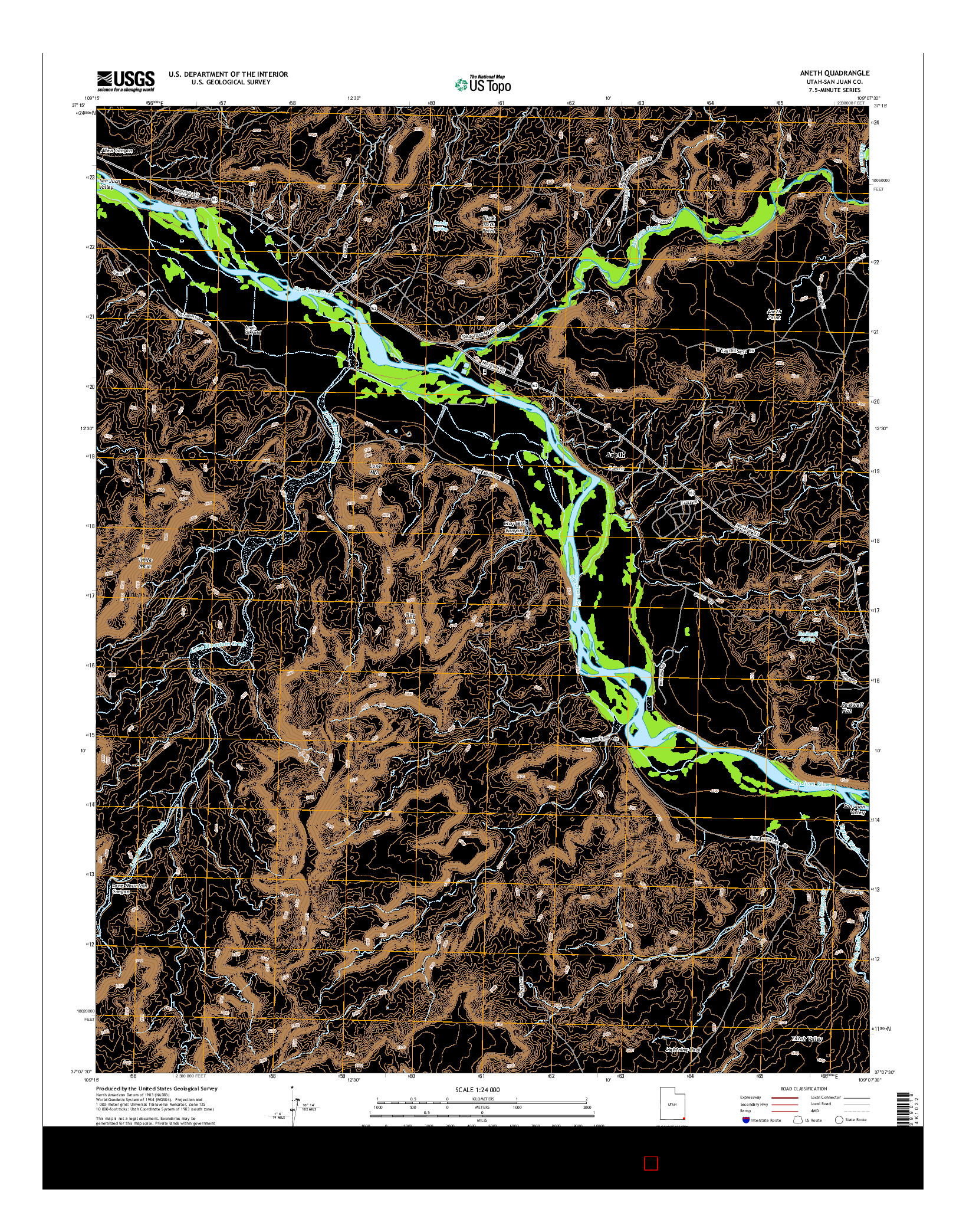USGS US TOPO 7.5-MINUTE MAP FOR ANETH, UT 2014