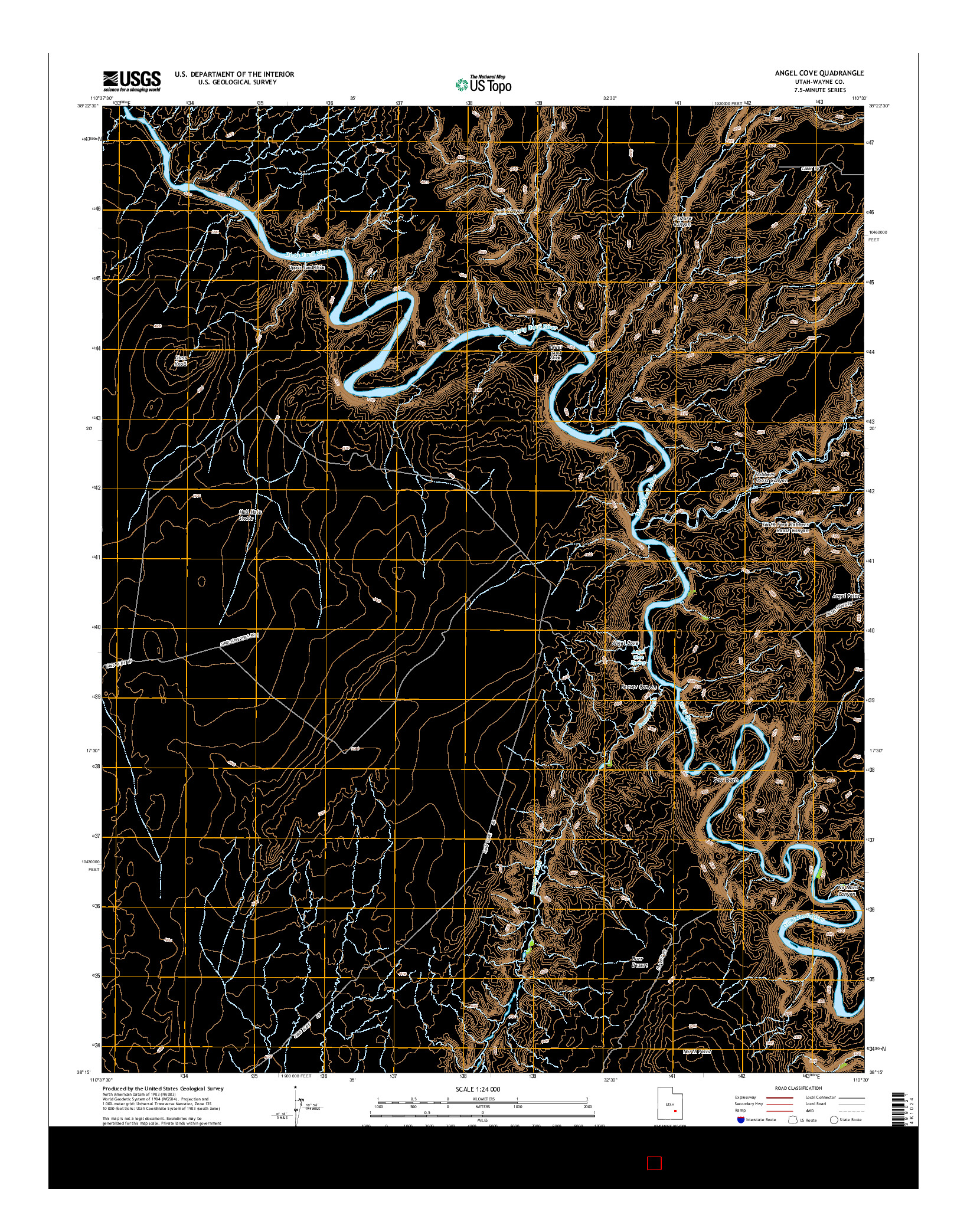 USGS US TOPO 7.5-MINUTE MAP FOR ANGEL COVE, UT 2014