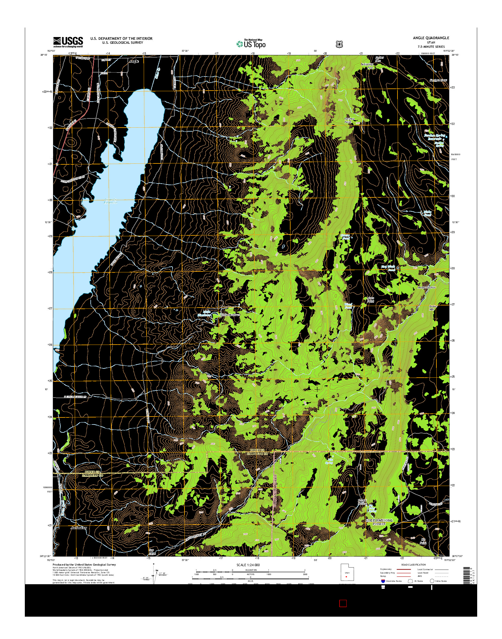 USGS US TOPO 7.5-MINUTE MAP FOR ANGLE, UT 2014
