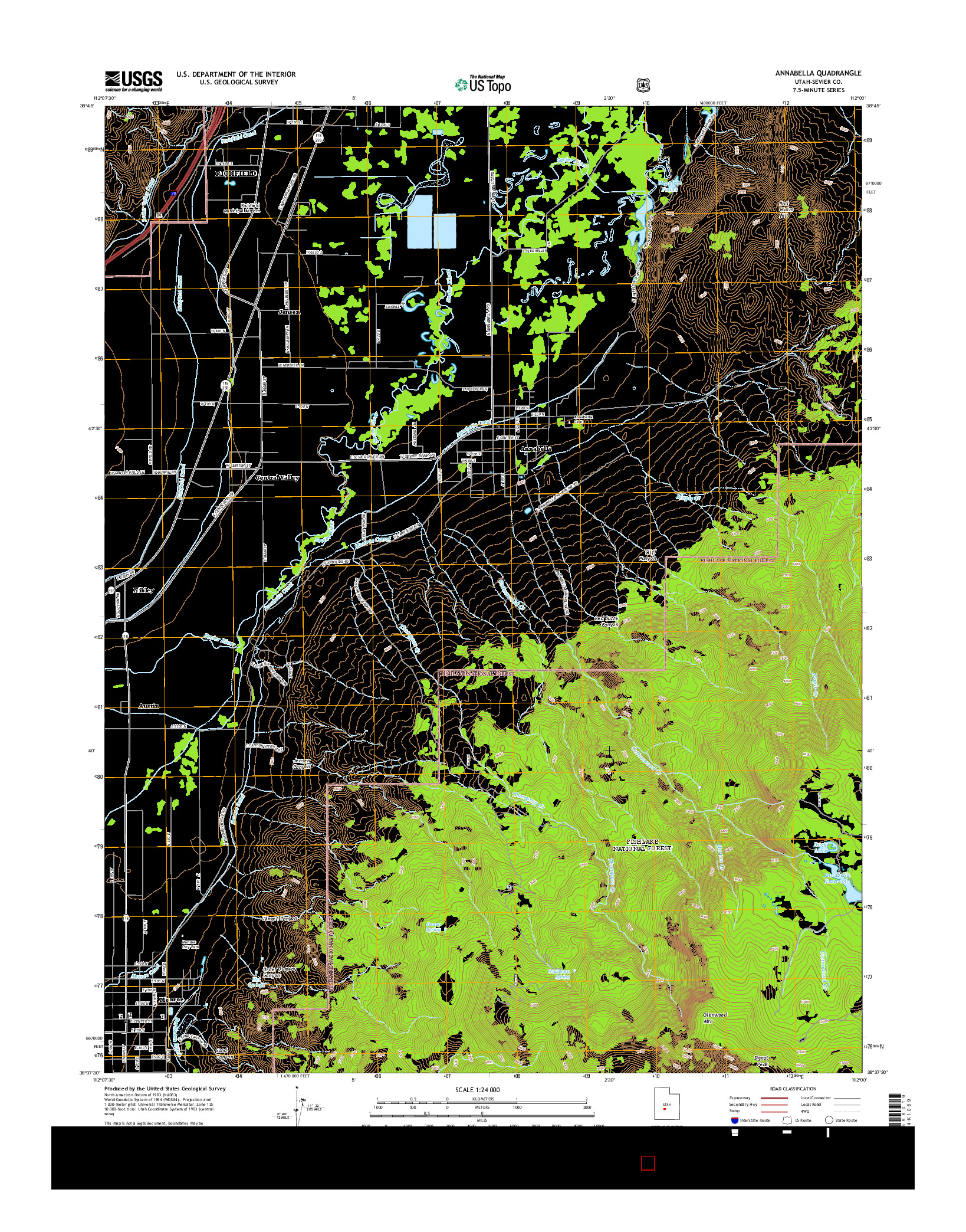 USGS US TOPO 7.5-MINUTE MAP FOR ANNABELLA, UT 2014
