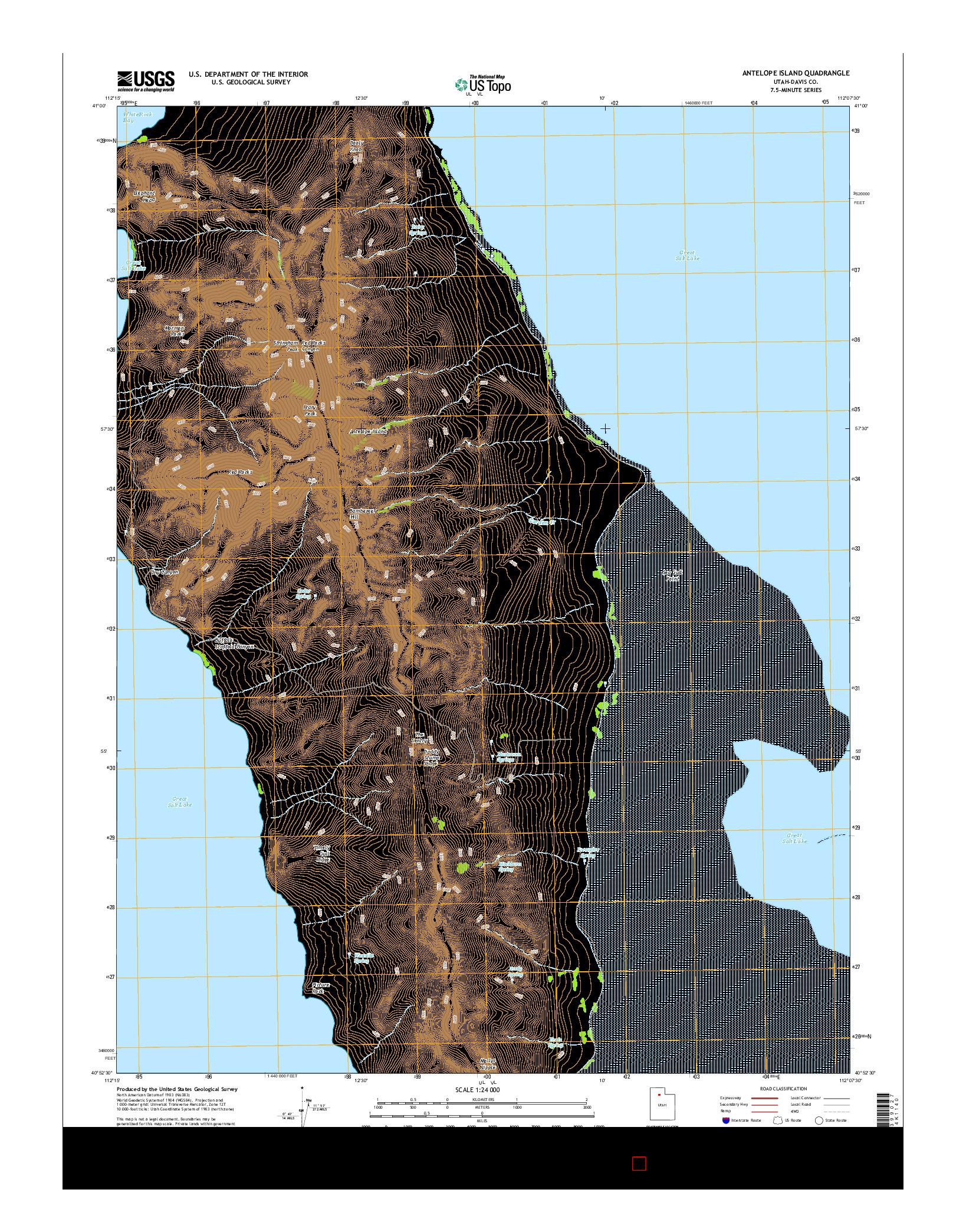 USGS US TOPO 7.5-MINUTE MAP FOR ANTELOPE ISLAND, UT 2014
