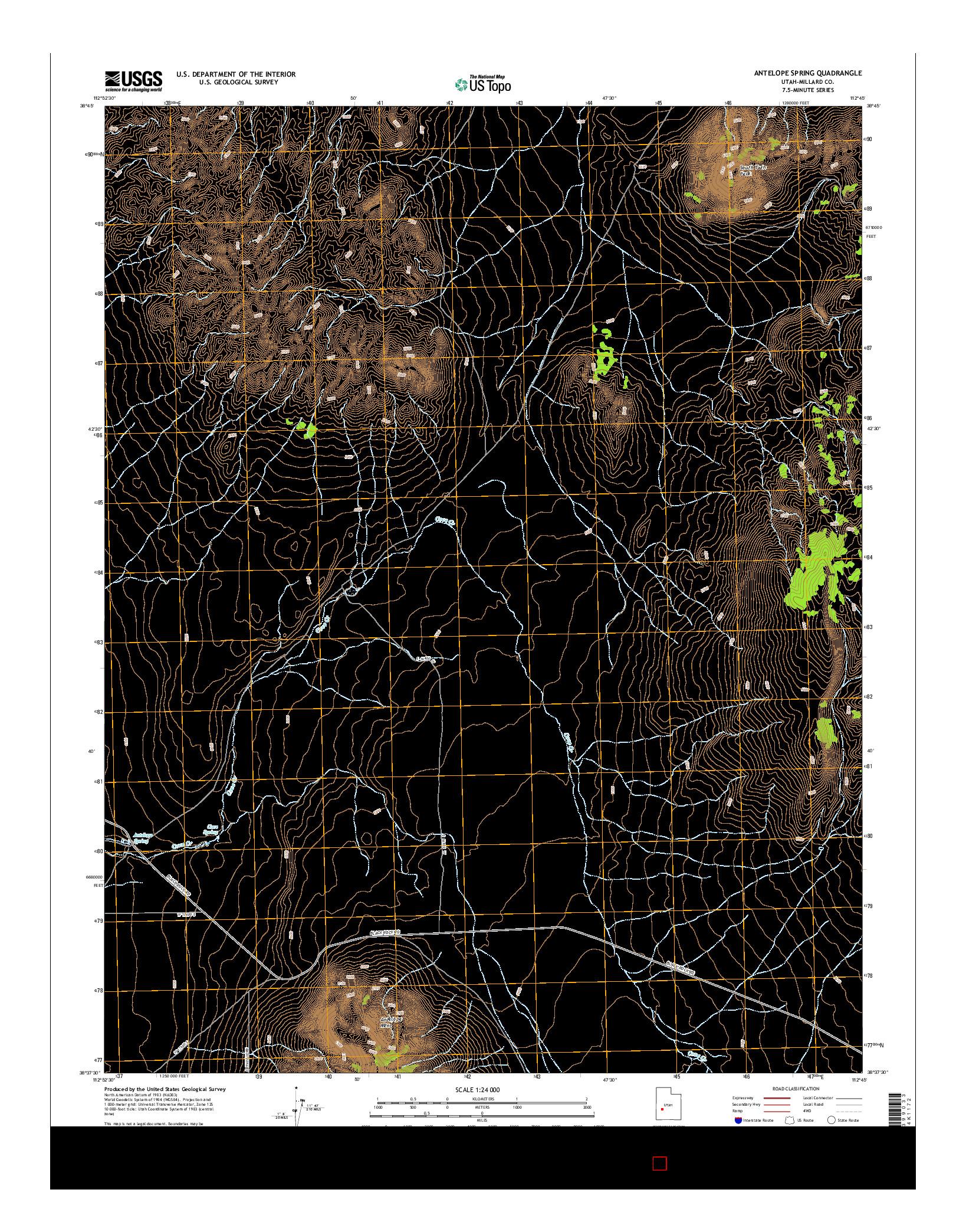 USGS US TOPO 7.5-MINUTE MAP FOR ANTELOPE SPRING, UT 2014