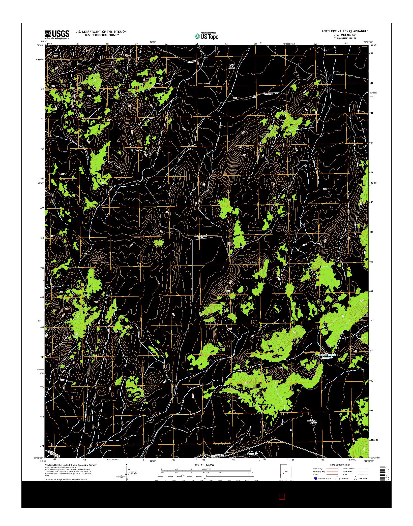 USGS US TOPO 7.5-MINUTE MAP FOR ANTELOPE VALLEY, UT 2014