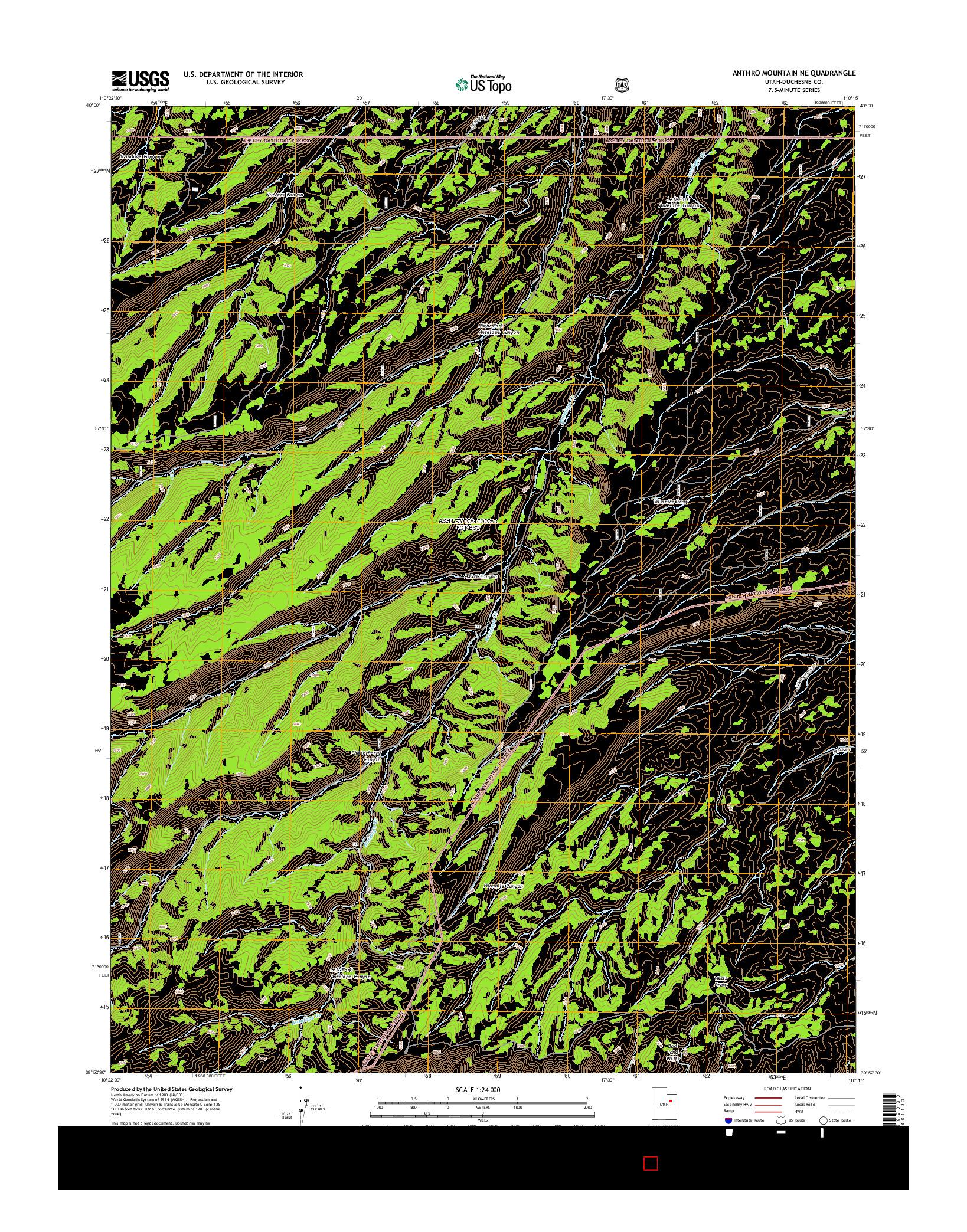 USGS US TOPO 7.5-MINUTE MAP FOR ANTHRO MOUNTAIN NE, UT 2014