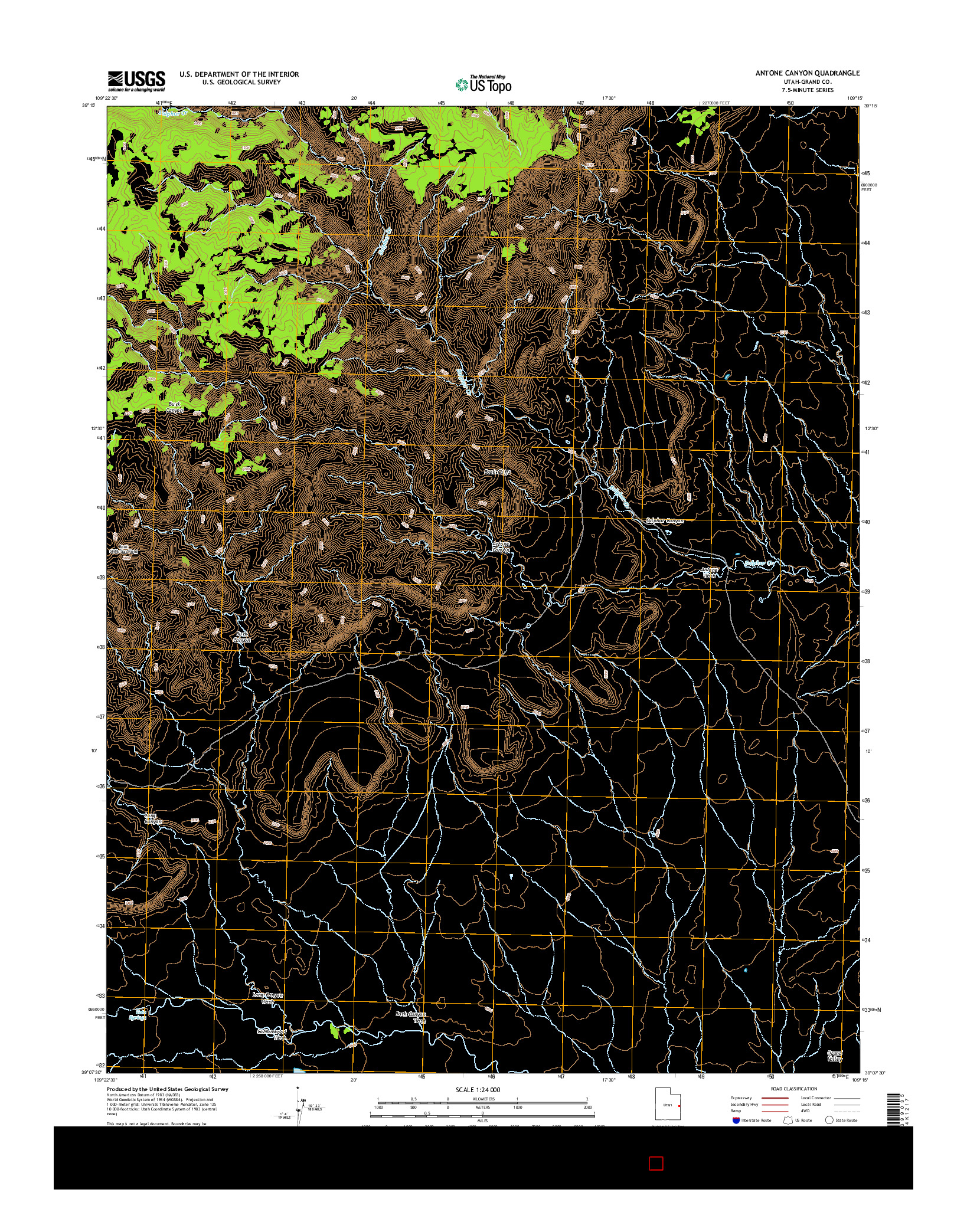 USGS US TOPO 7.5-MINUTE MAP FOR ANTONE CANYON, UT 2014