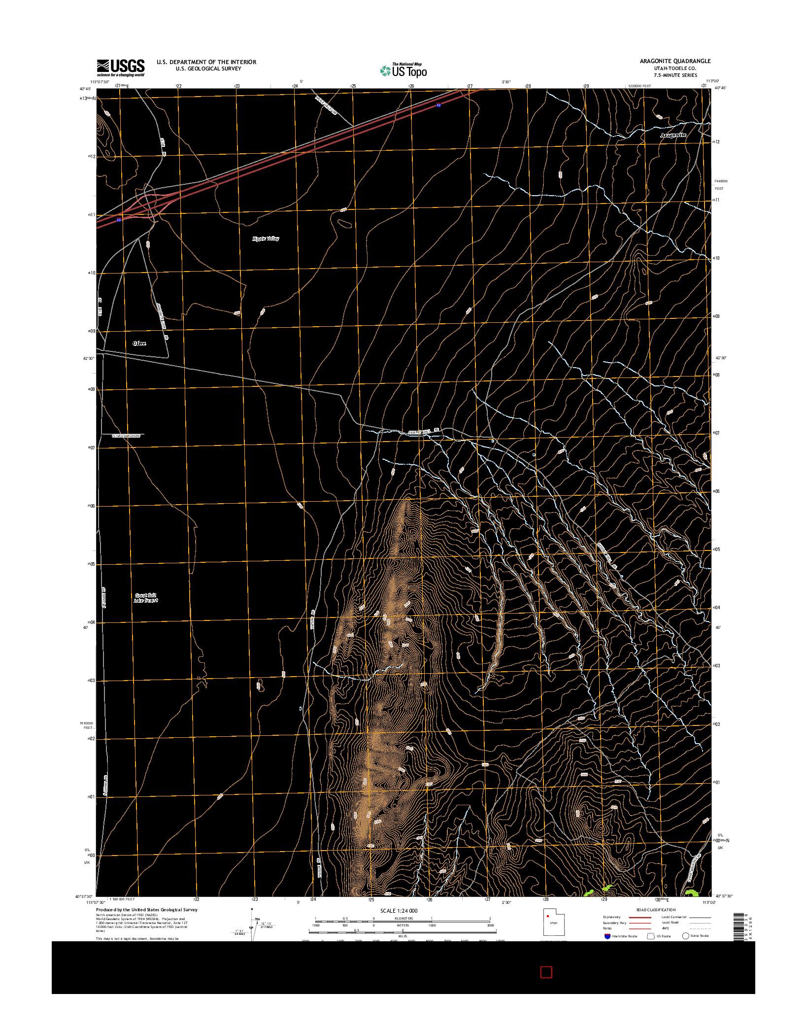 USGS US TOPO 7.5-MINUTE MAP FOR ARAGONITE, UT 2014