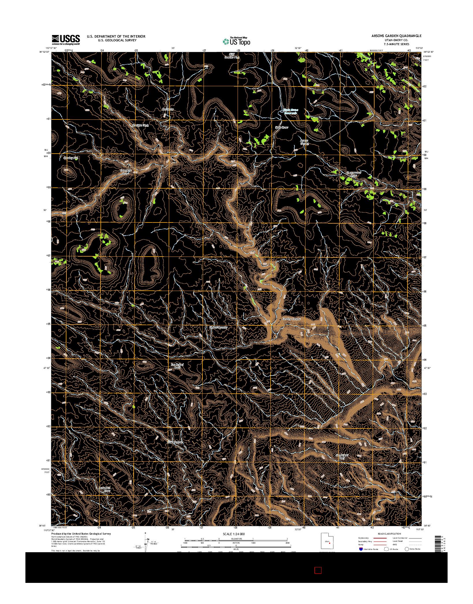 USGS US TOPO 7.5-MINUTE MAP FOR ARSONS GARDEN, UT 2014