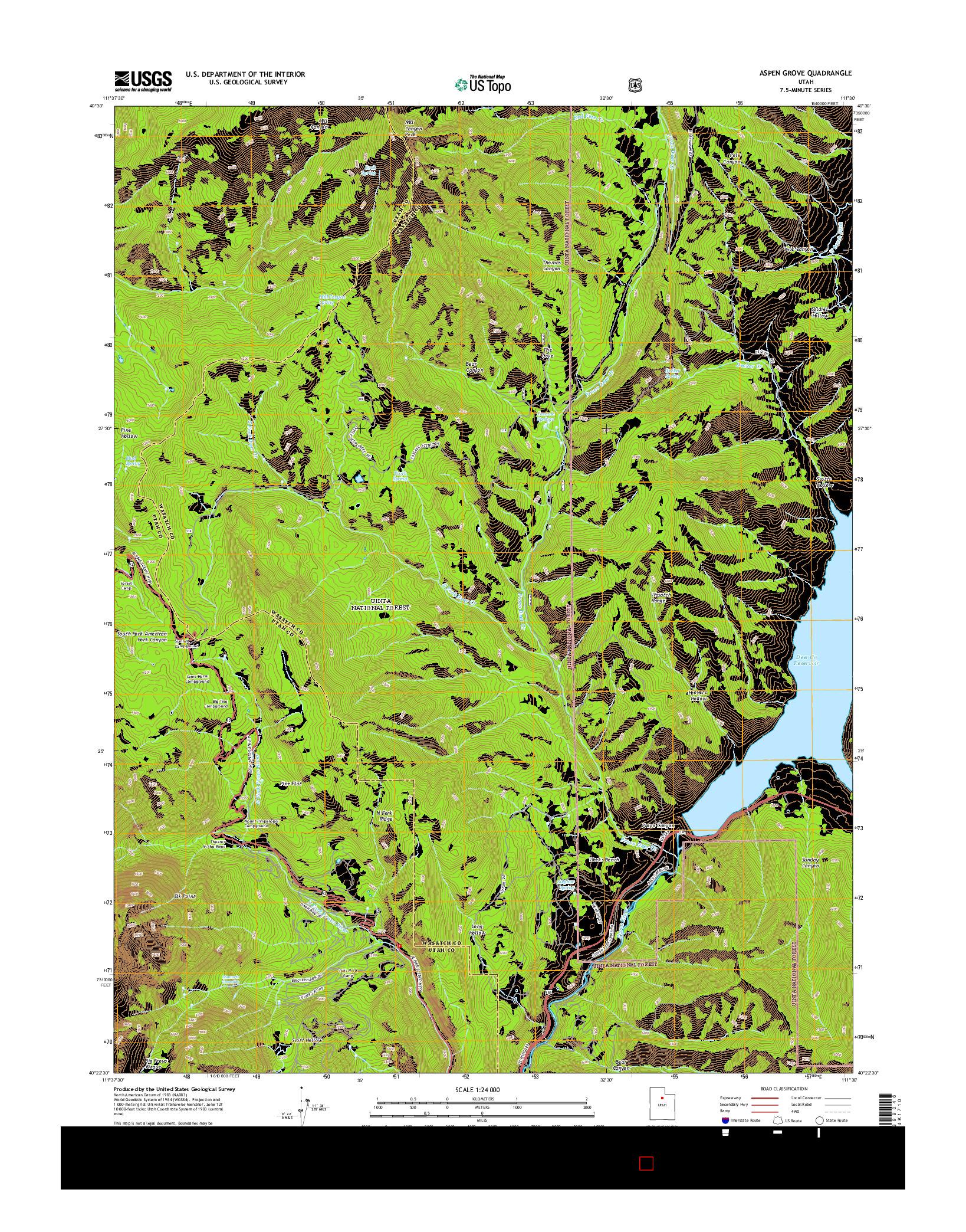 USGS US TOPO 7.5-MINUTE MAP FOR ASPEN GROVE, UT 2014