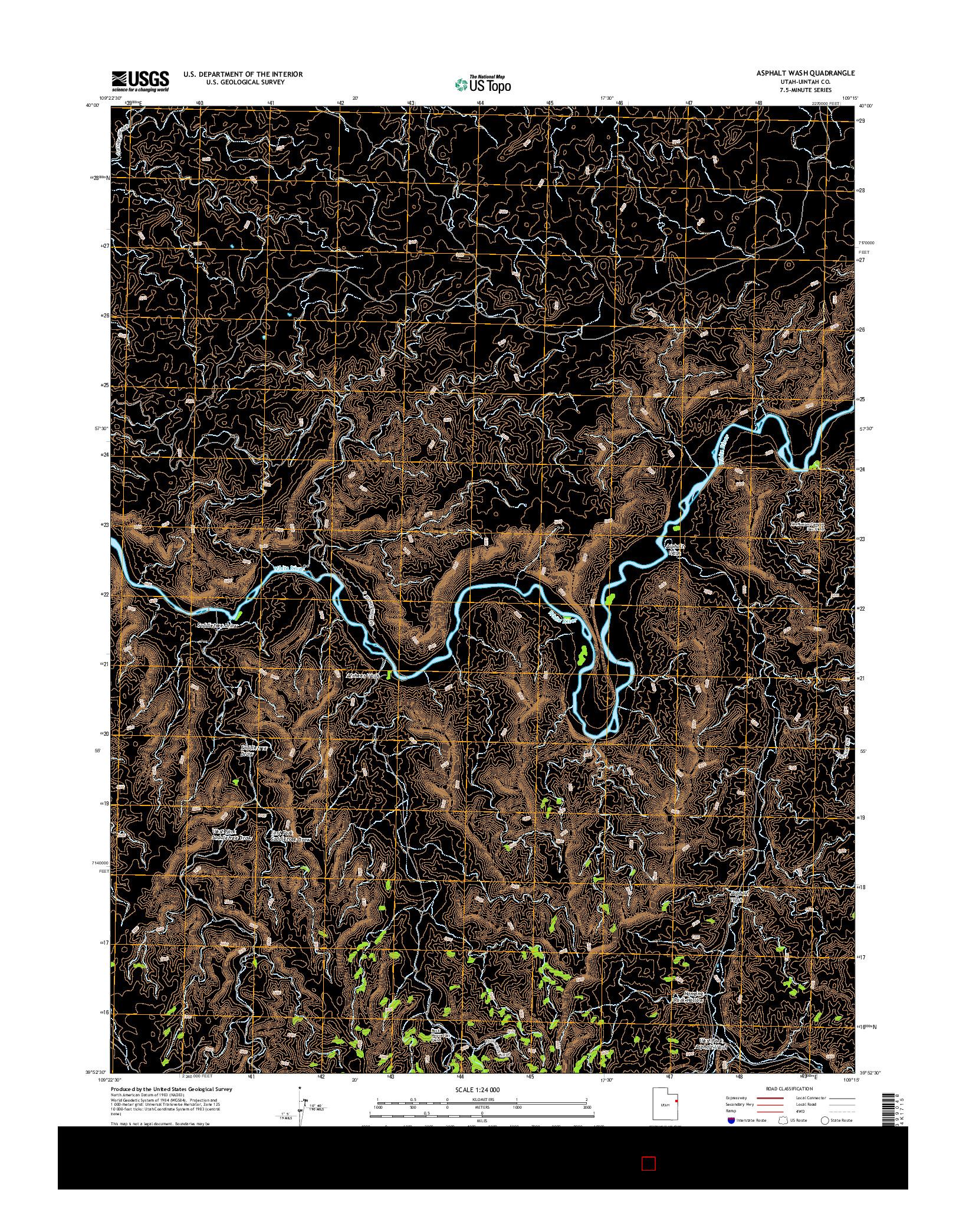 USGS US TOPO 7.5-MINUTE MAP FOR ASPHALT WASH, UT 2014