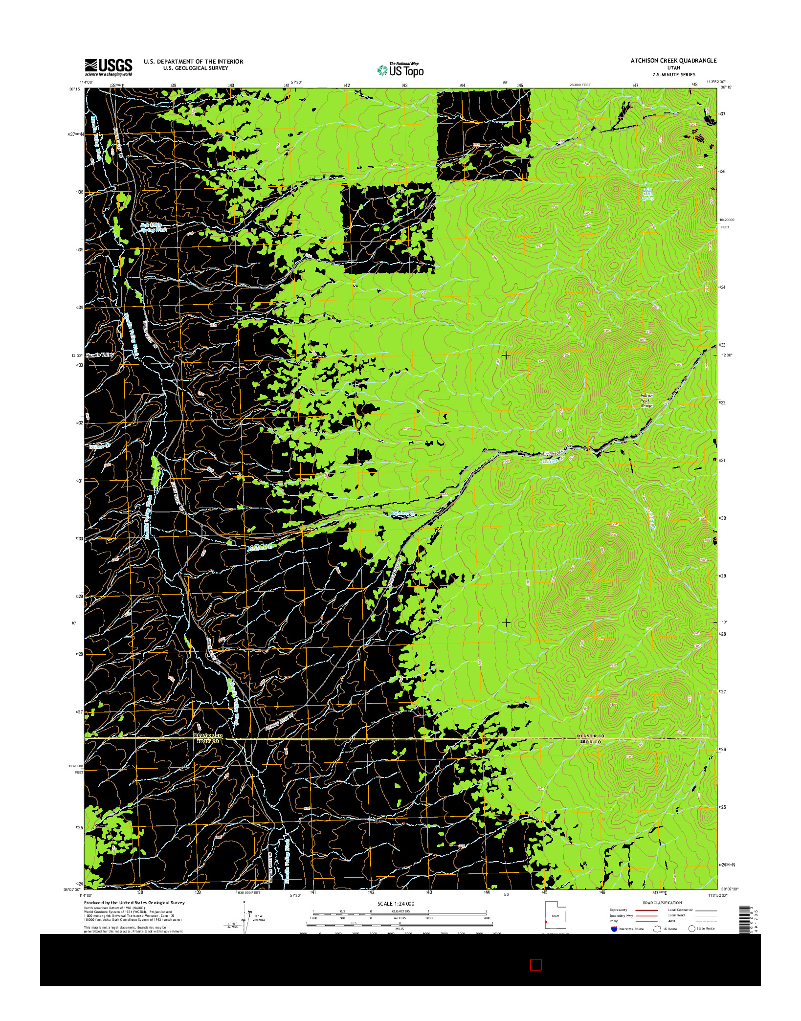 USGS US TOPO 7.5-MINUTE MAP FOR ATCHISON CREEK, UT 2014