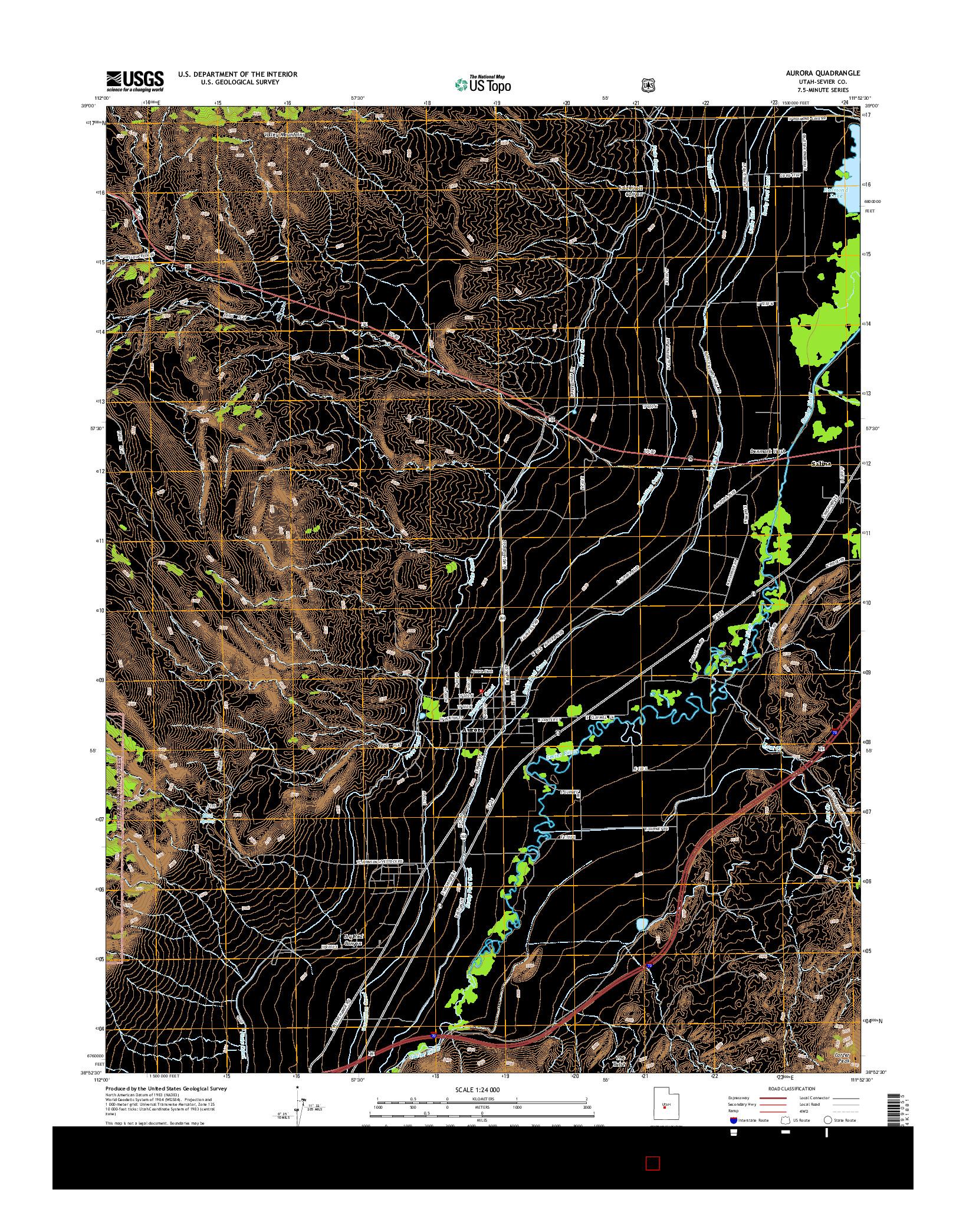 USGS US TOPO 7.5-MINUTE MAP FOR AURORA, UT 2014