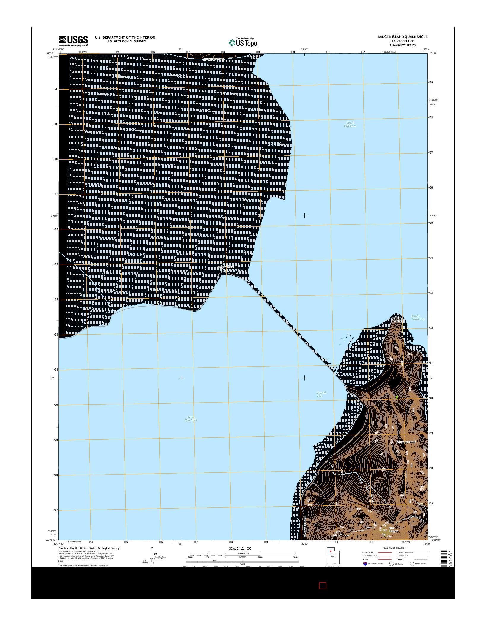 USGS US TOPO 7.5-MINUTE MAP FOR BADGER ISLAND, UT 2014