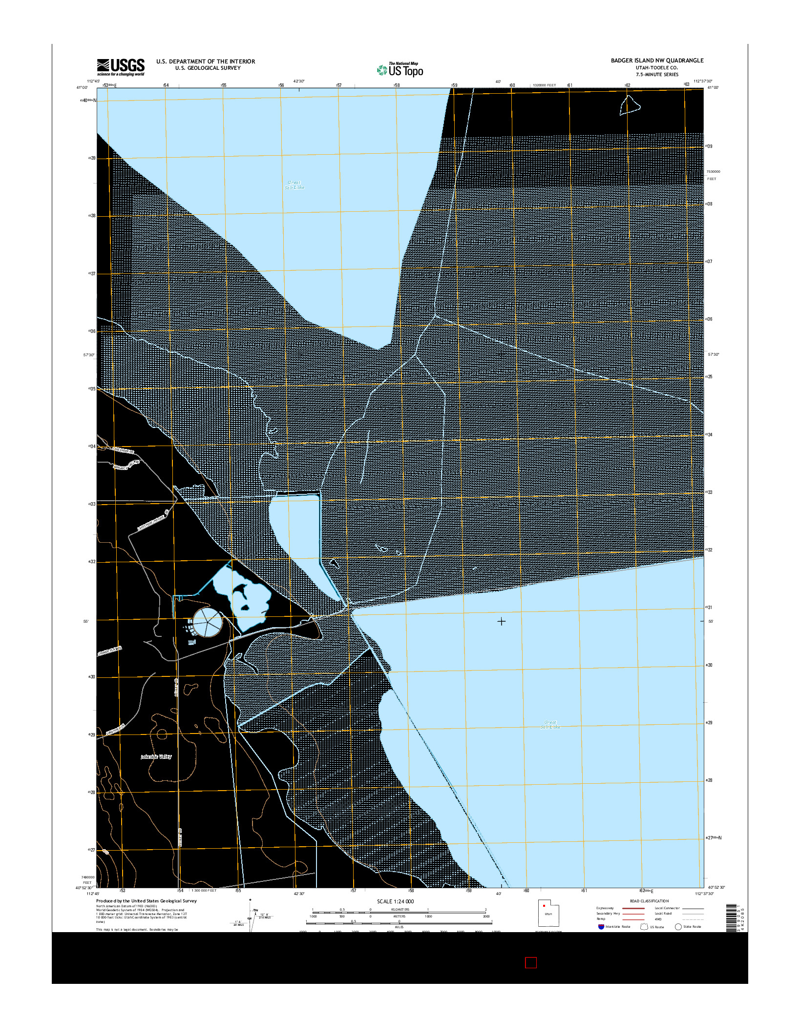 USGS US TOPO 7.5-MINUTE MAP FOR BADGER ISLAND NW, UT 2014