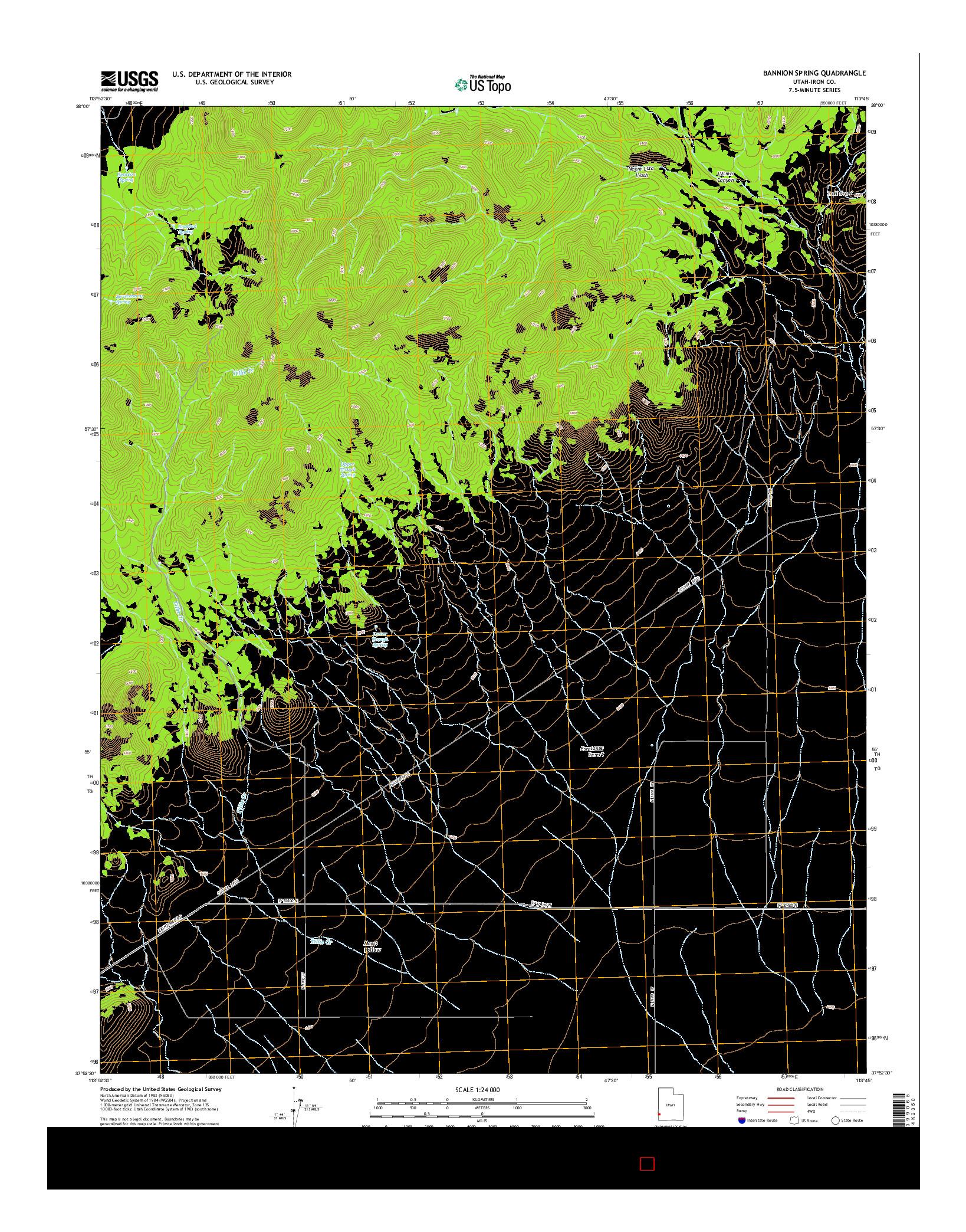 USGS US TOPO 7.5-MINUTE MAP FOR BANNION SPRING, UT 2014