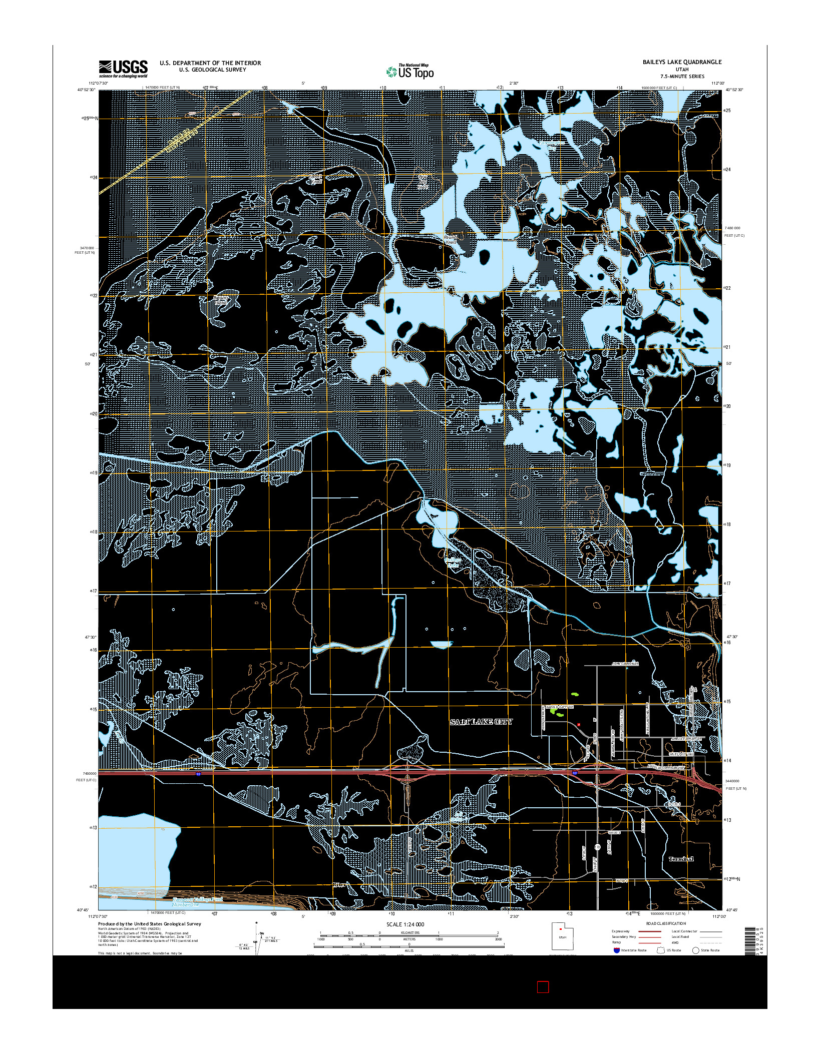 USGS US TOPO 7.5-MINUTE MAP FOR BAILEYS LAKE, UT 2014