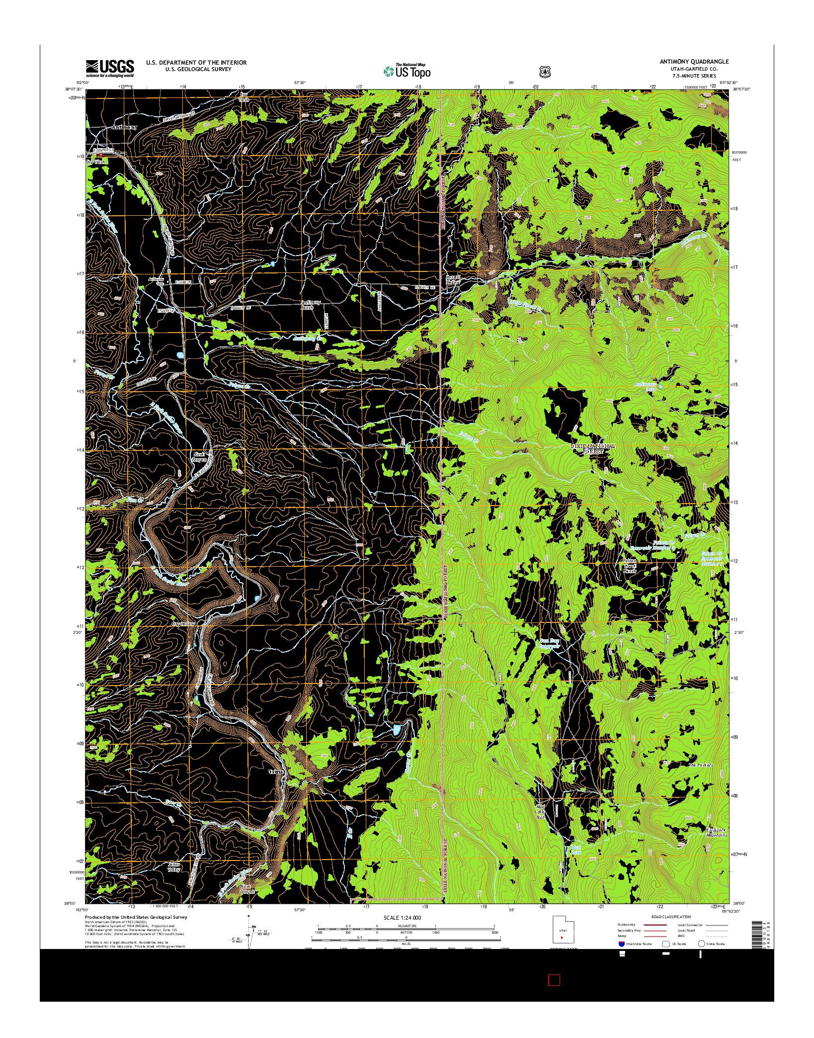 USGS US TOPO 7.5-MINUTE MAP FOR ANTIMONY, UT 2014