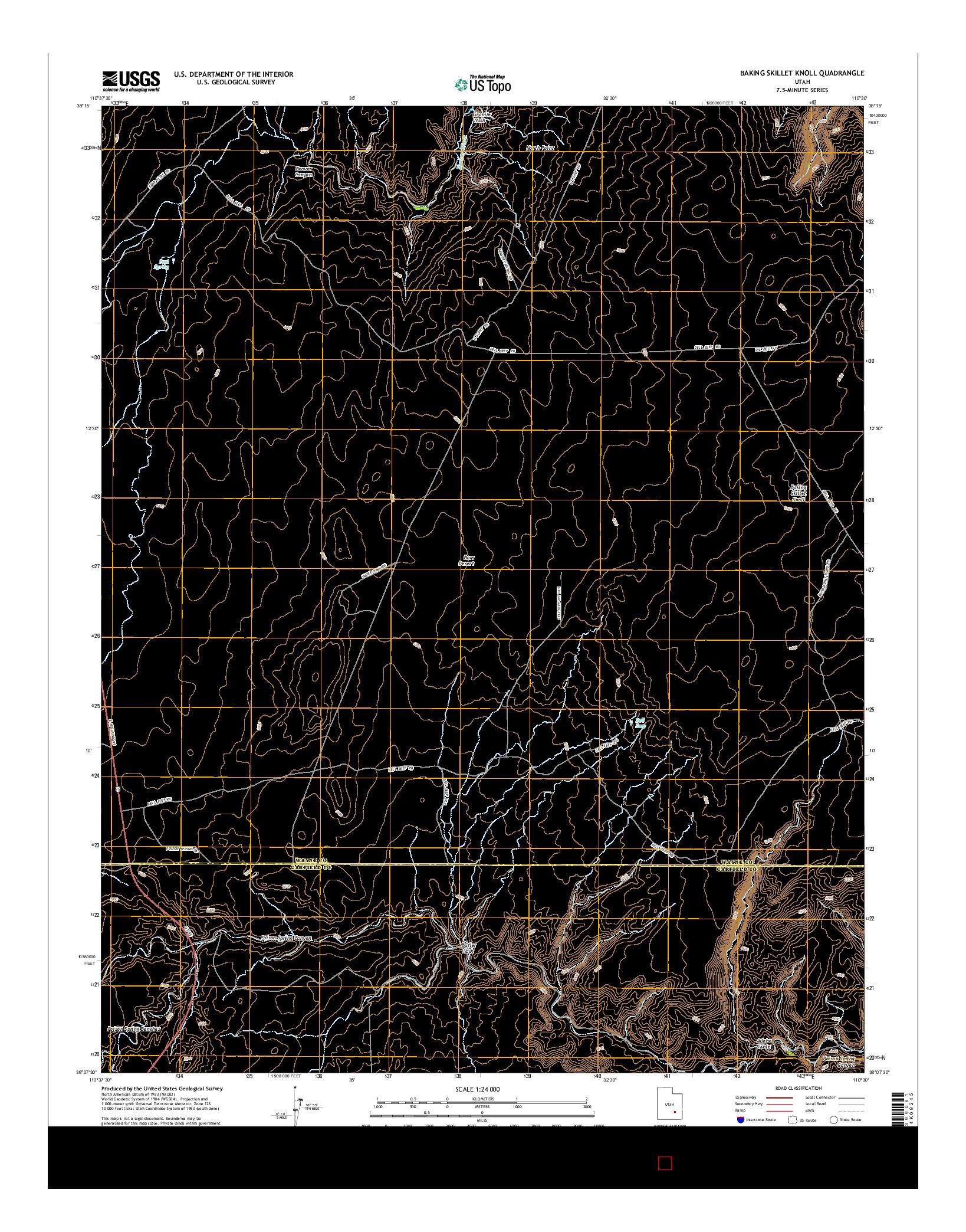USGS US TOPO 7.5-MINUTE MAP FOR BAKING SKILLET KNOLL, UT 2014