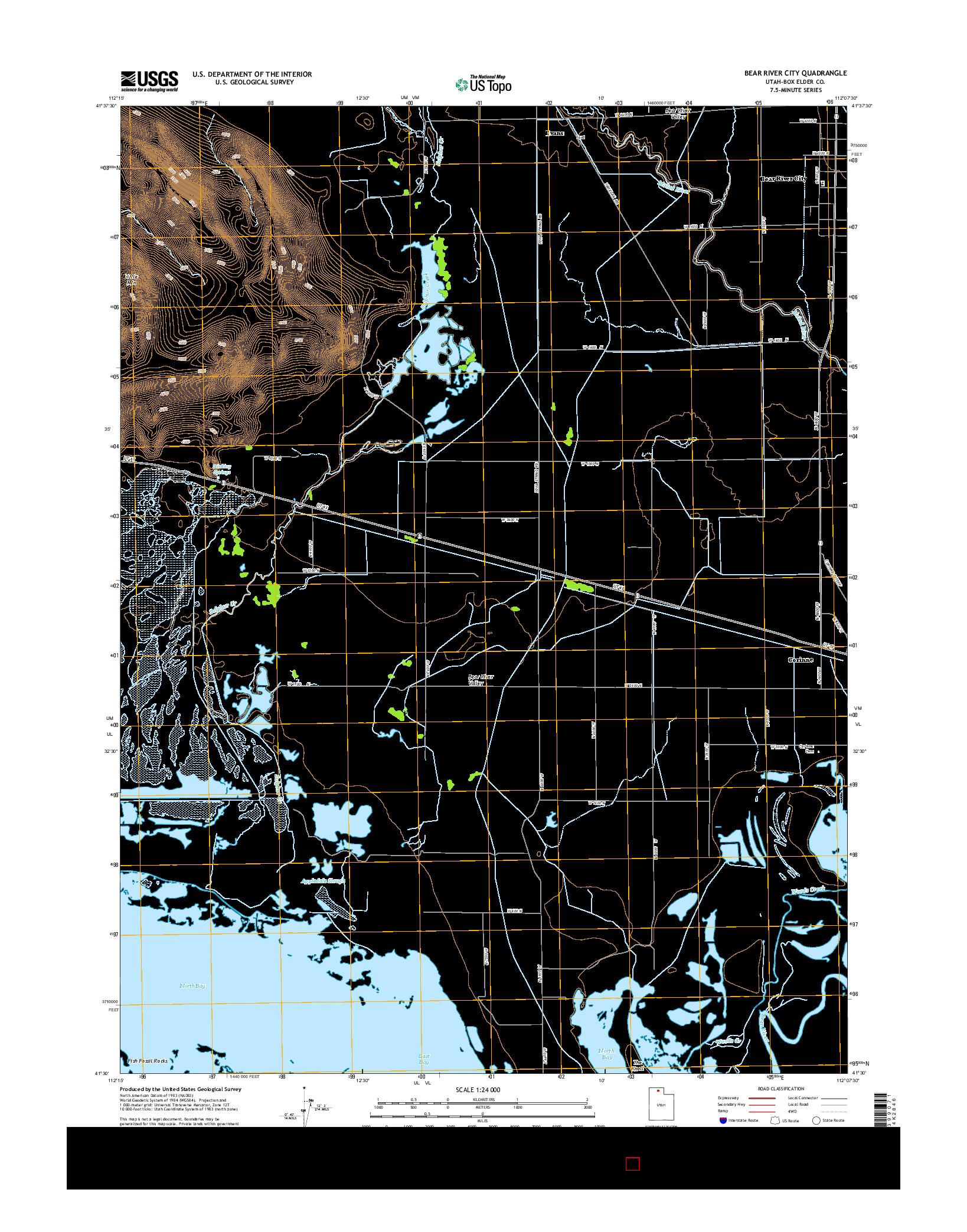 USGS US TOPO 7.5-MINUTE MAP FOR BEAR RIVER CITY, UT 2014