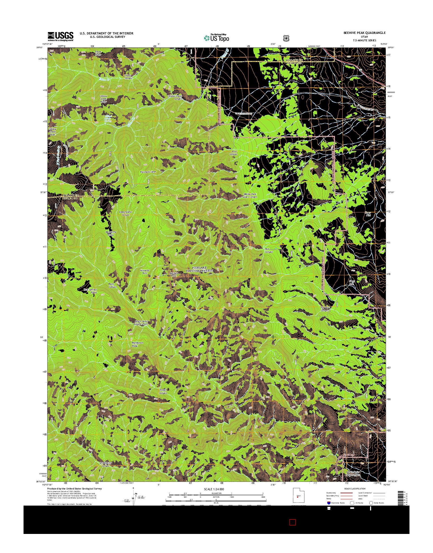 USGS US TOPO 7.5-MINUTE MAP FOR BEEHIVE PEAK, UT 2014