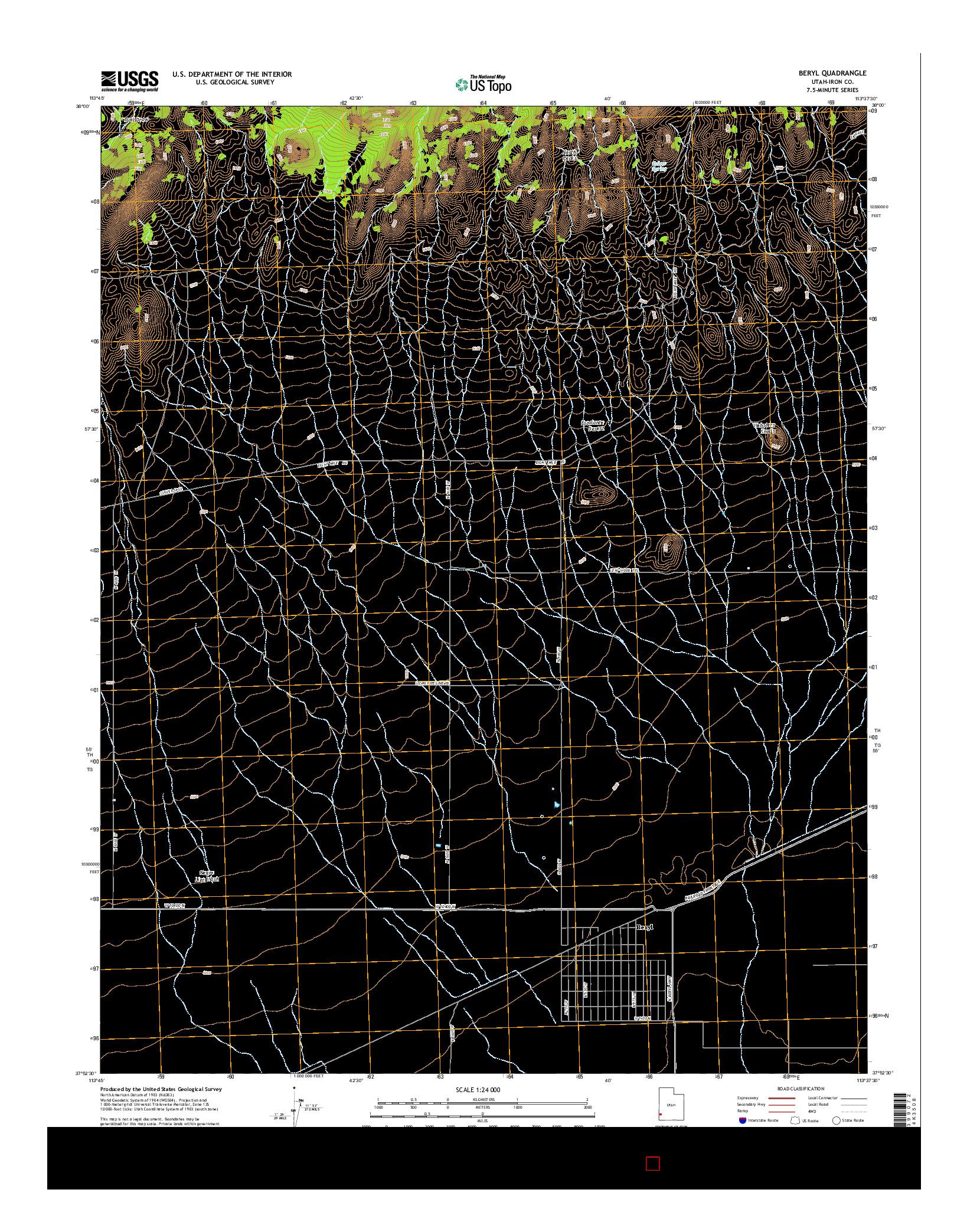USGS US TOPO 7.5-MINUTE MAP FOR BERYL, UT 2014
